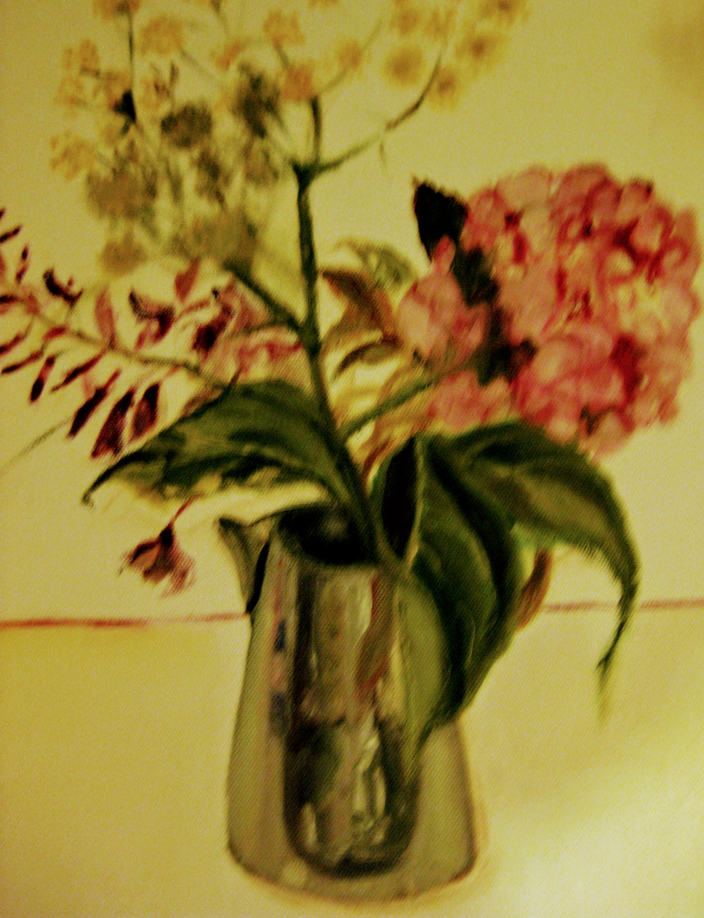 Flowers in Metal Jug   Acrylics on canvas  by Sally Hyman