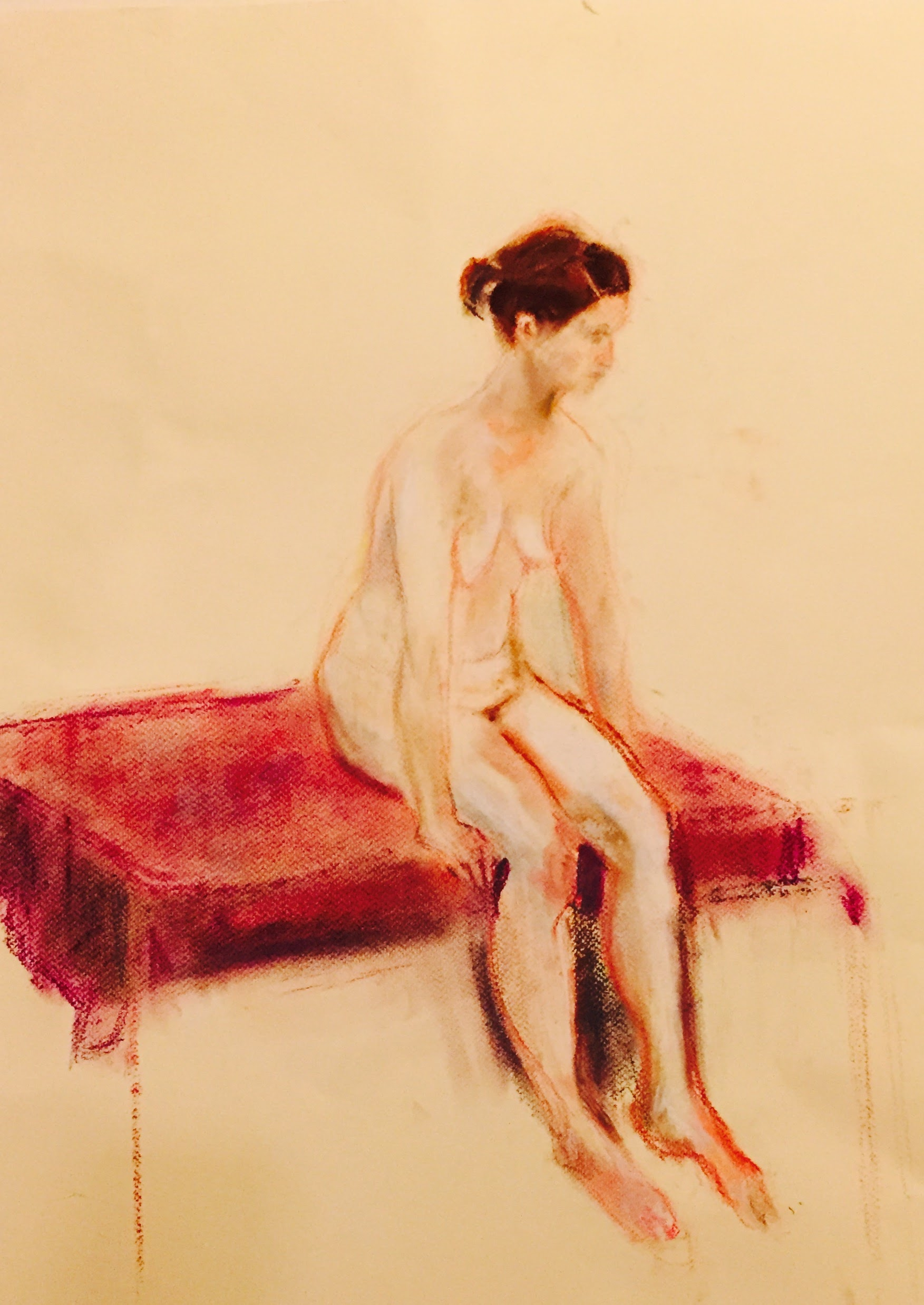 Waiting     Unison pastels on paper  by Sally Hyman