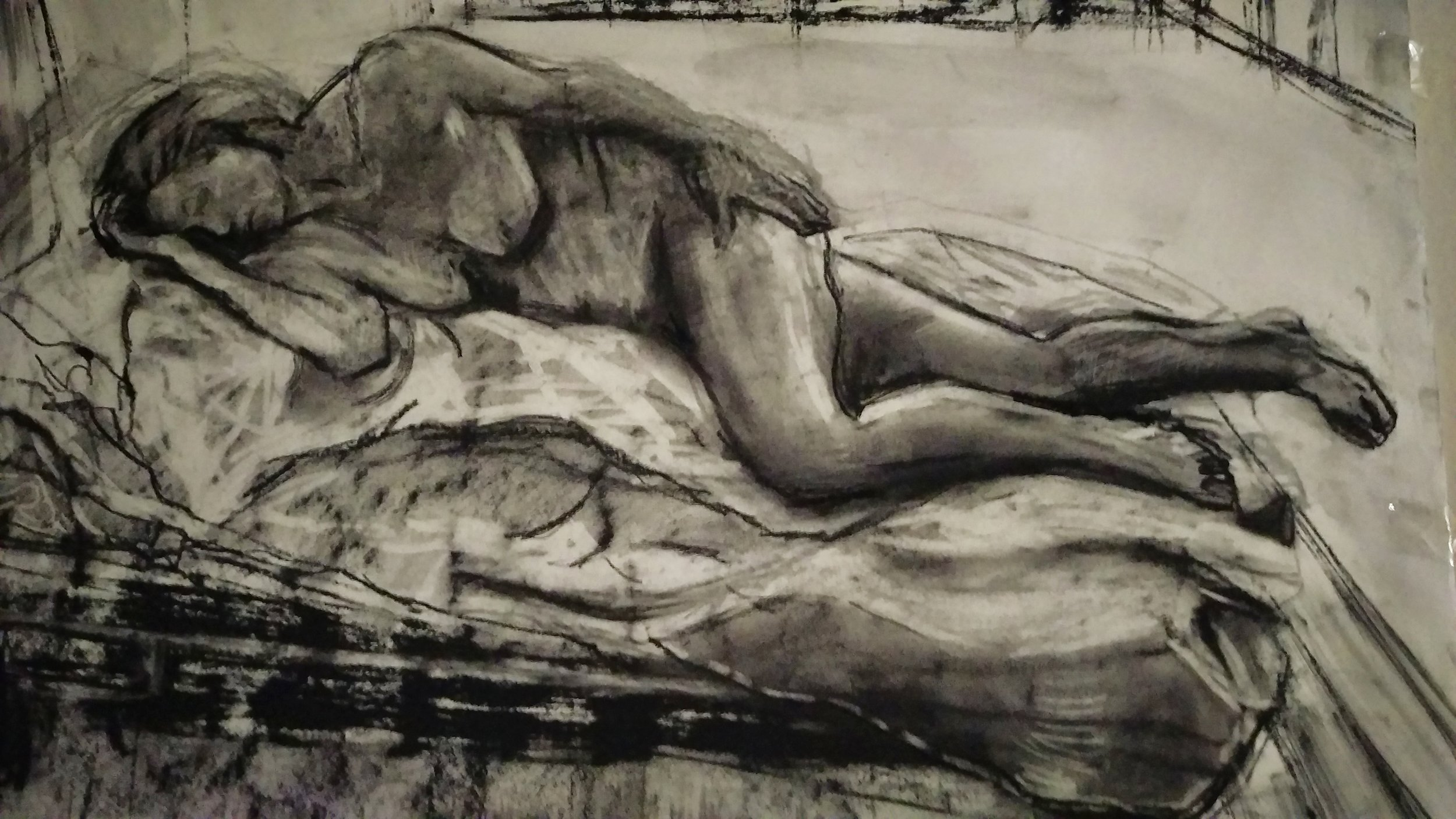 Fallen     Charcoal on paper  by Sally Hyman