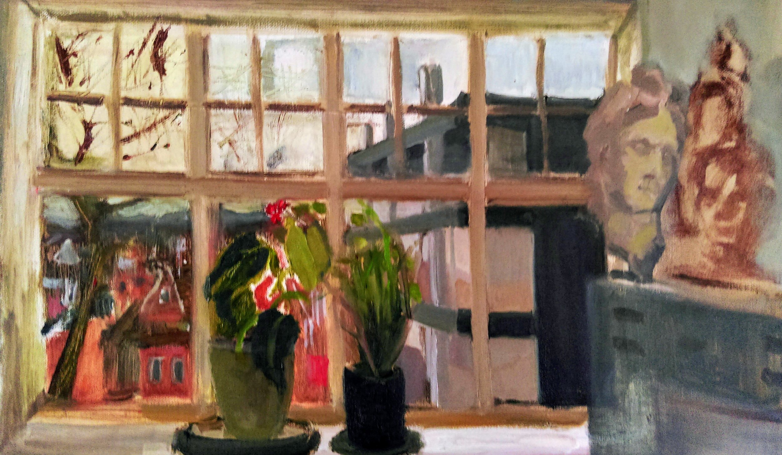 View from Hampstead School of Art (Old Building)   Oil on canvas  by Sally Hyman