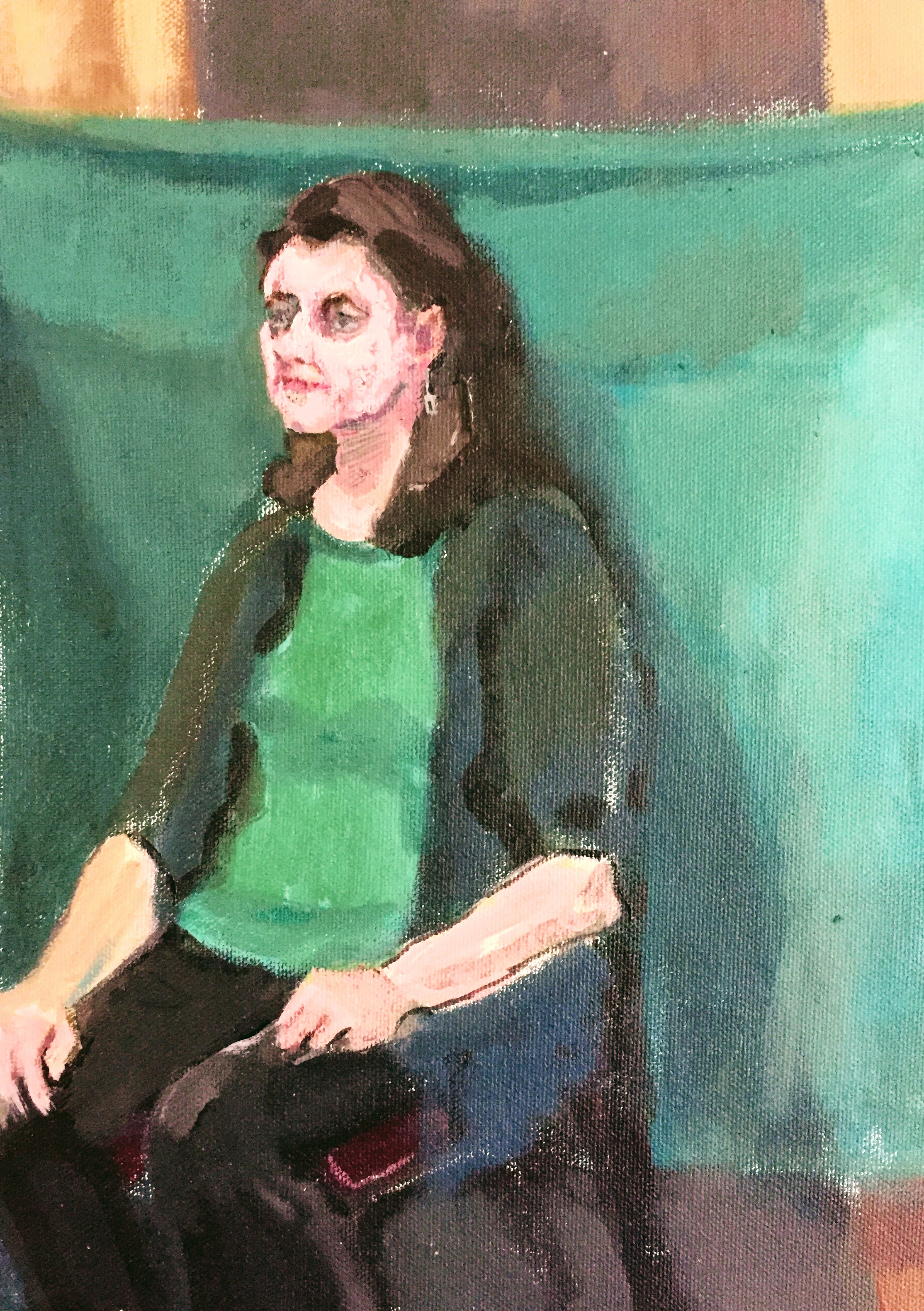 Green Cloth   Acrylics on canvas  by Sally Hyman