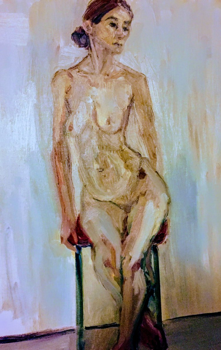 Maria    Acrylics on canvas  by Sally Hyman