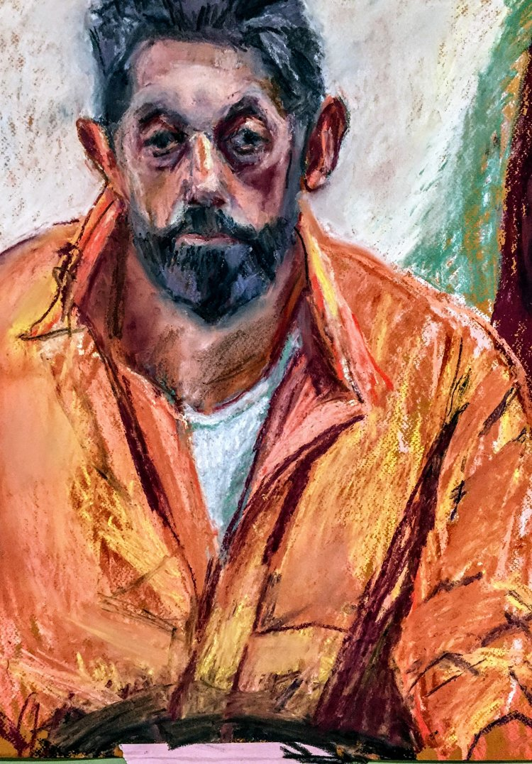 Clive in Orange Shirt   Unison pastels on paper  by Sally Hyman