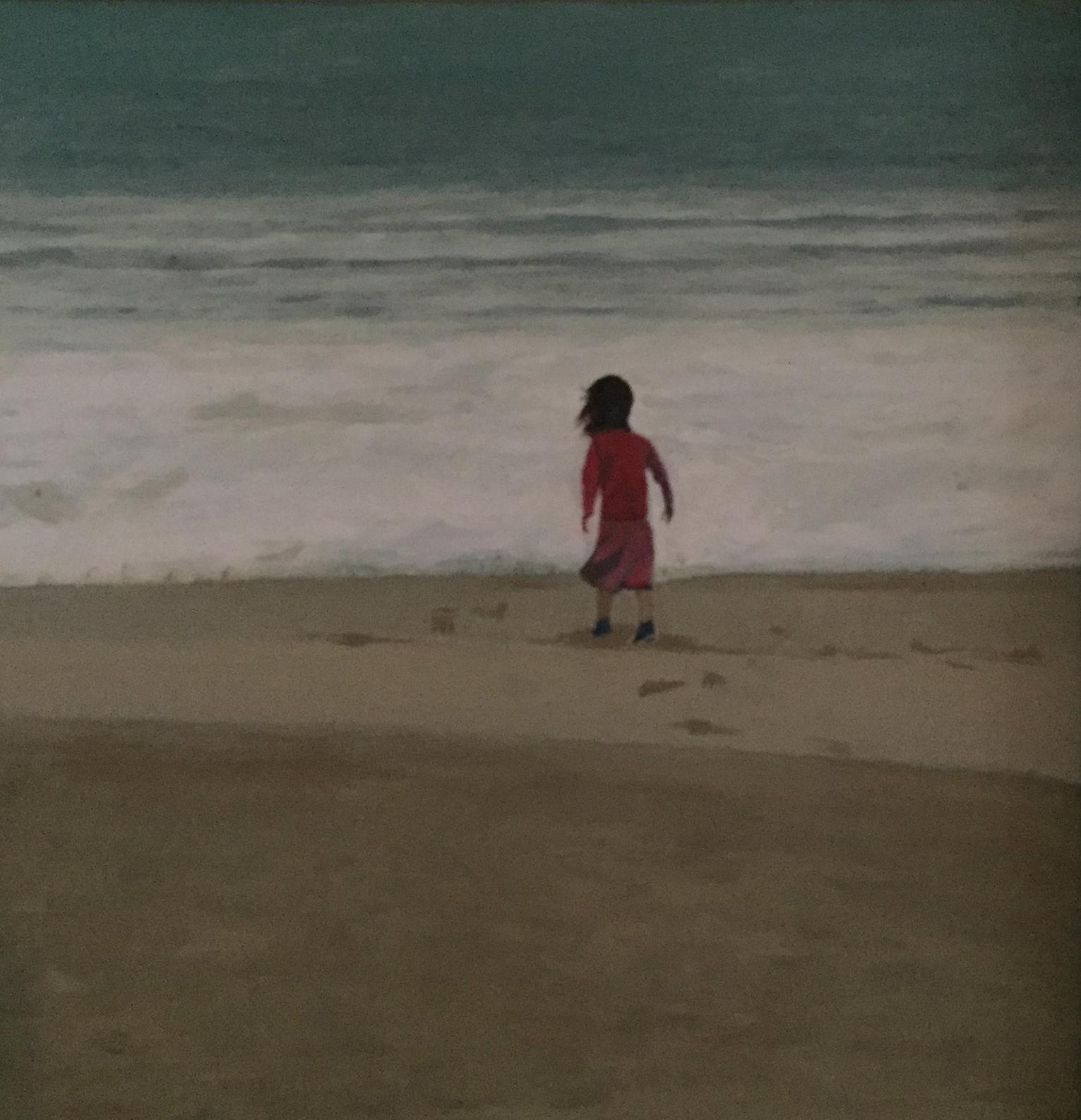 Becky at the Beach    Acrylics on canvas  by Sally Hyman