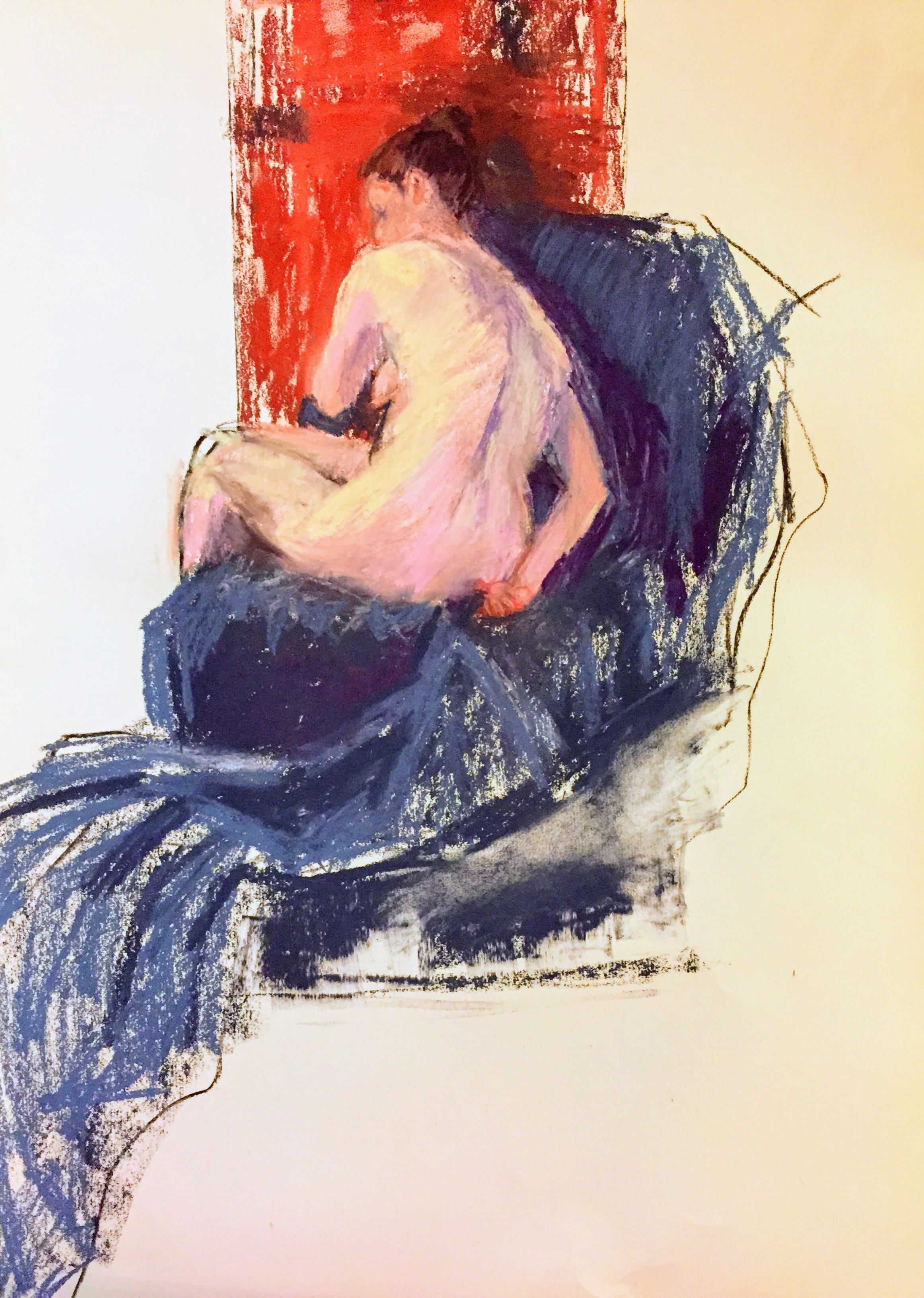 Figure With Blue Cloth    Unison pastels on paper  by Sally Hyman