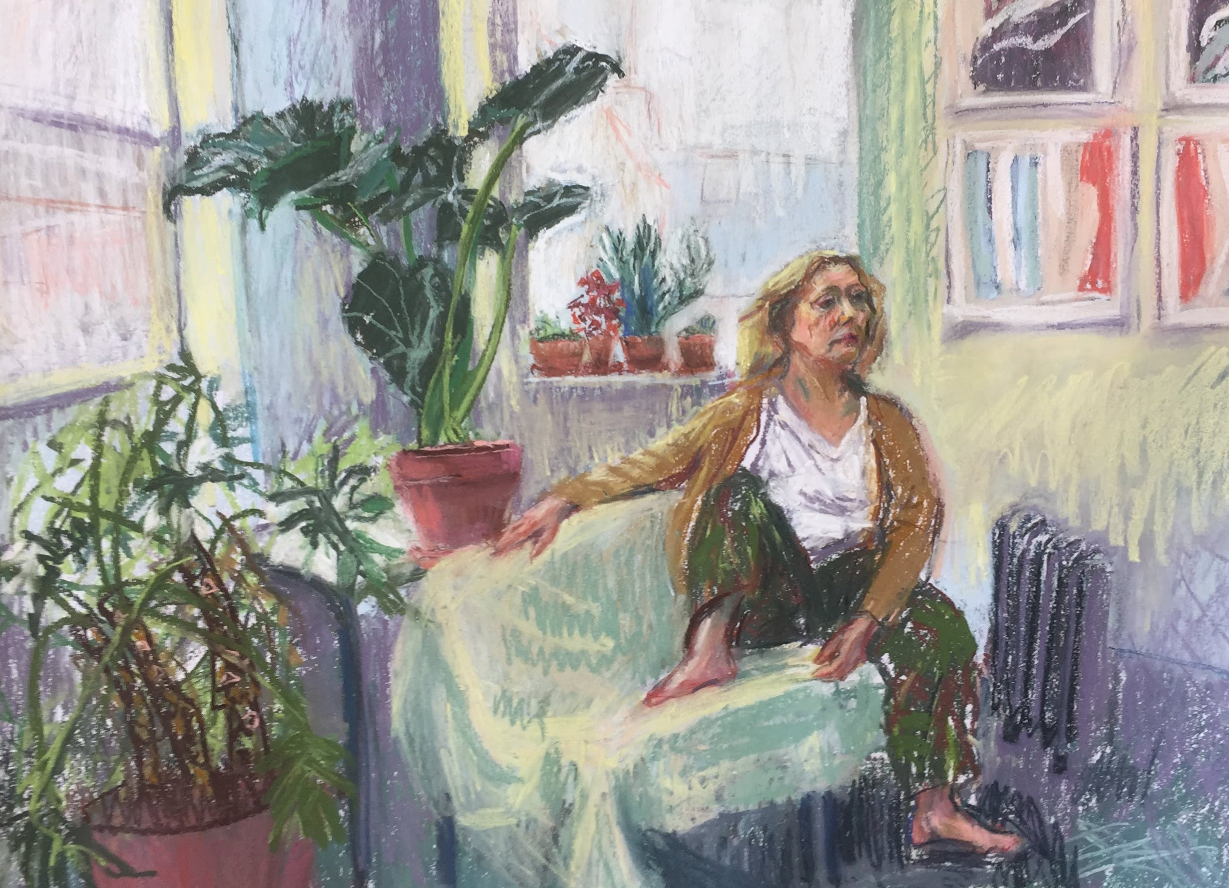Stephanie and plants   Unison Pastels on Paper  by Sally Hyman
