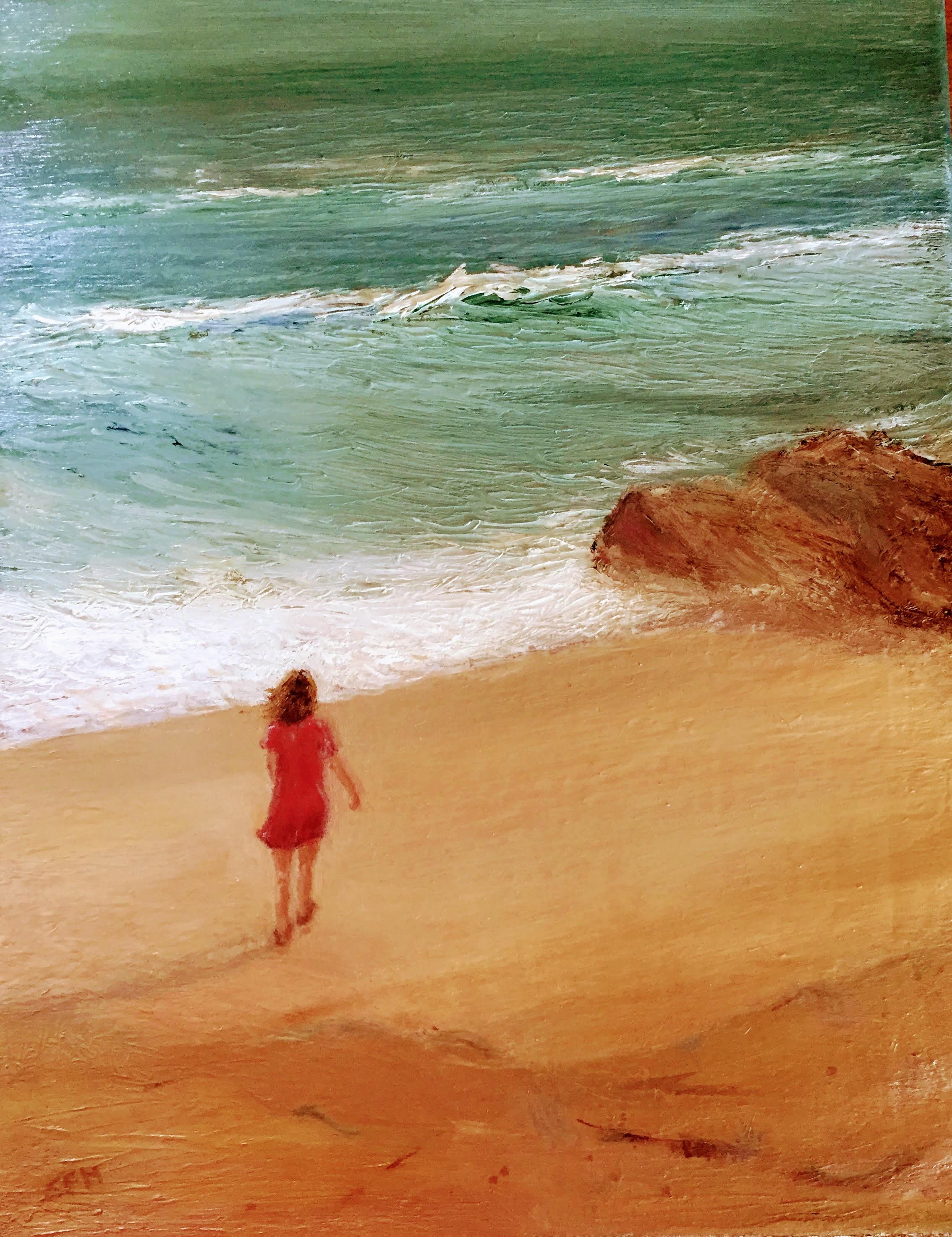 On the Beach    Oil on canvas  by Sally Hyman