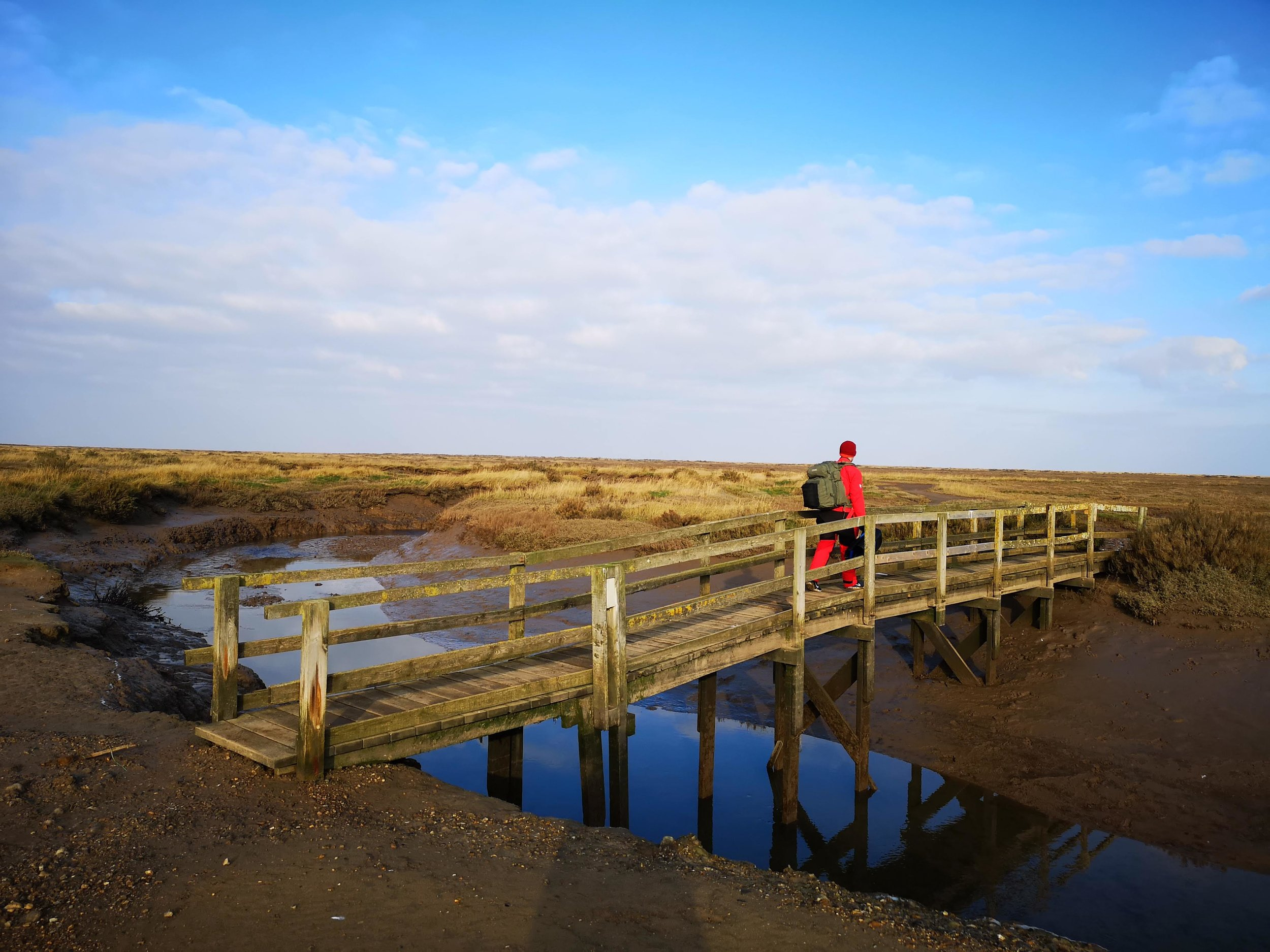 The footbridge over Cabbage Creek, Stiffkey Marshes. We visited in January when the temperature hovered around zero and ice still coated much of the ground.