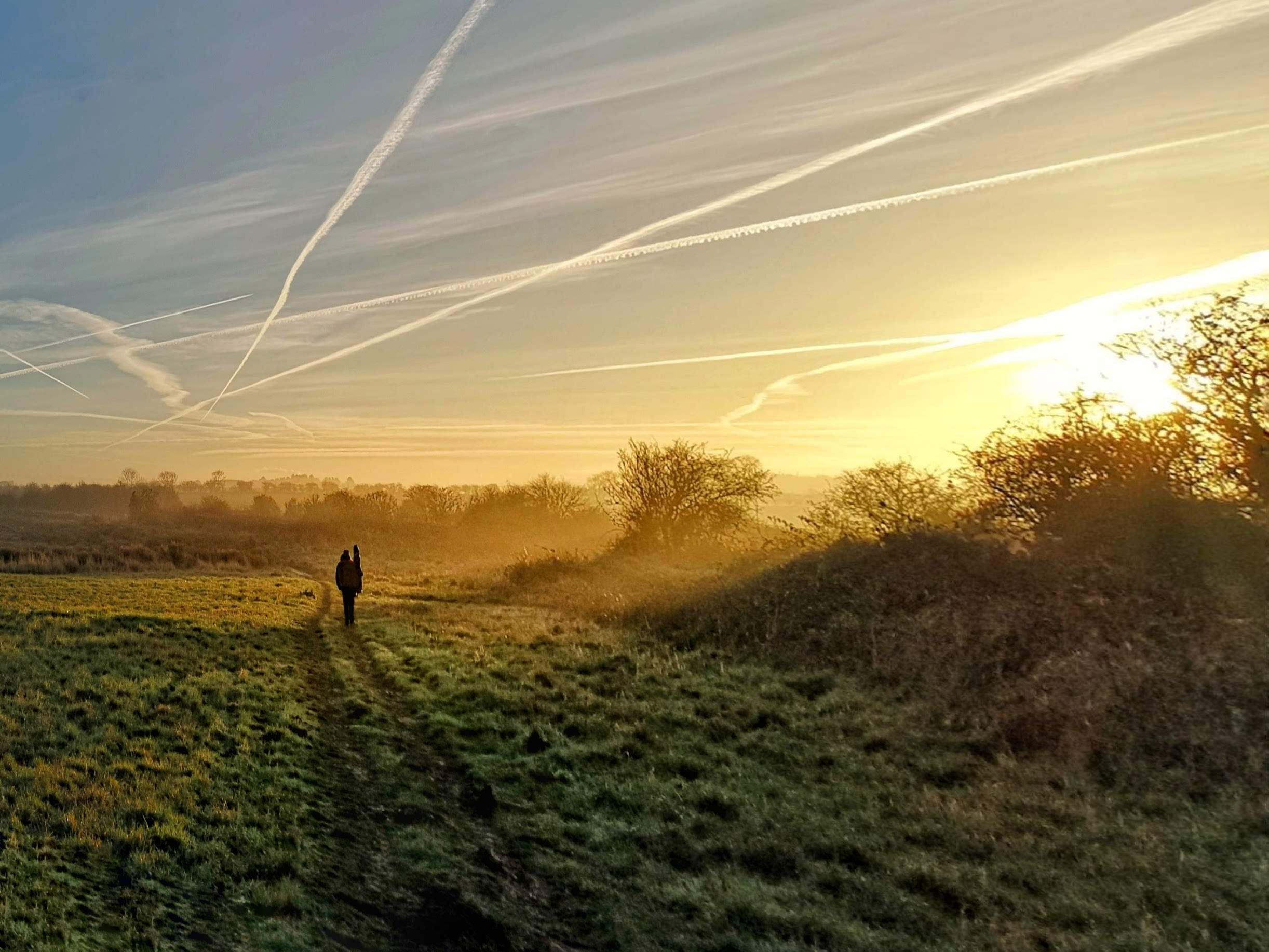 Hiking home at dawn.