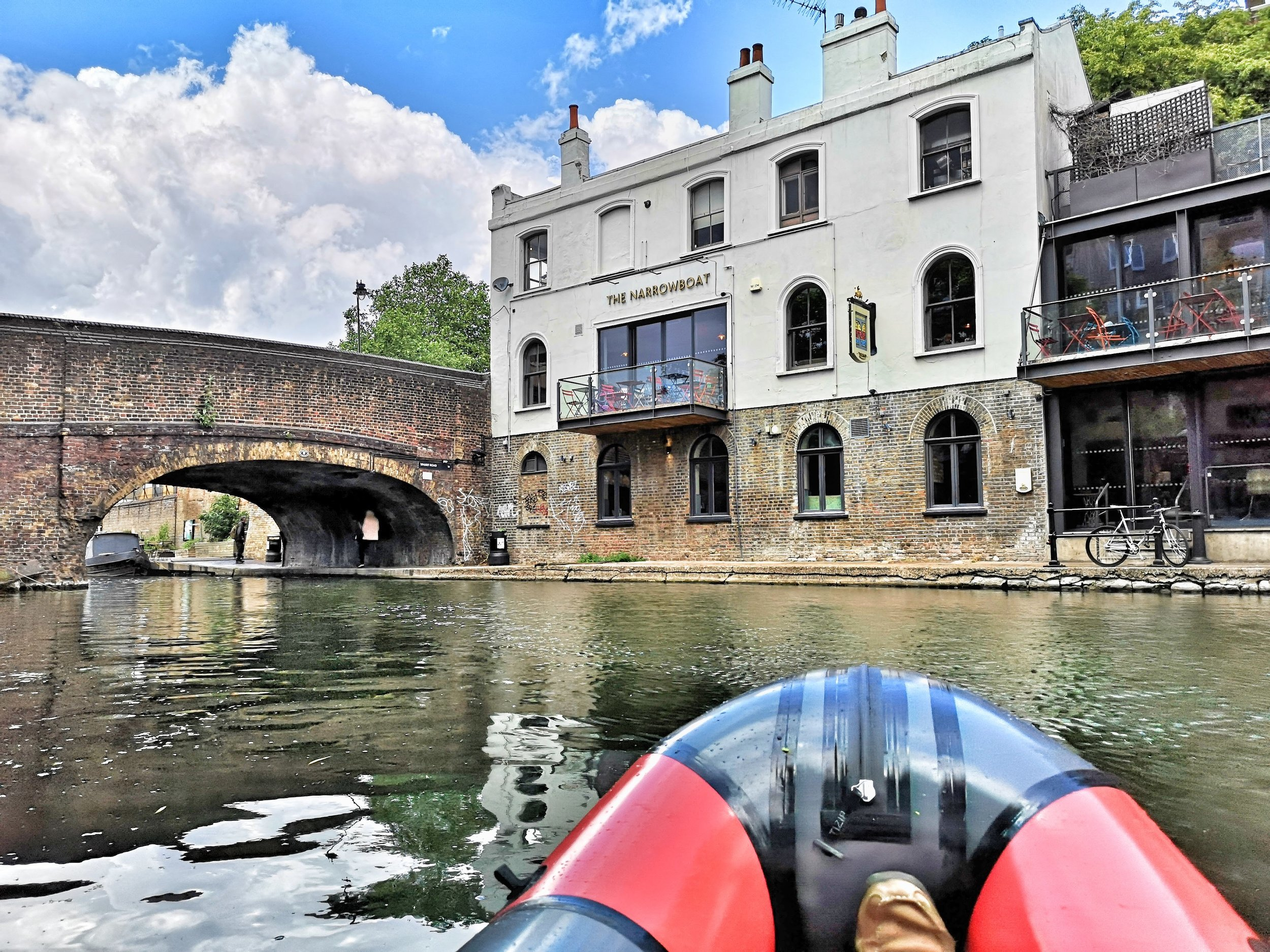 The Narrow Boat  is a beautiful canal side pub and the perfect place to finish your paddle (book a table if you want to eat because it's small and popular).