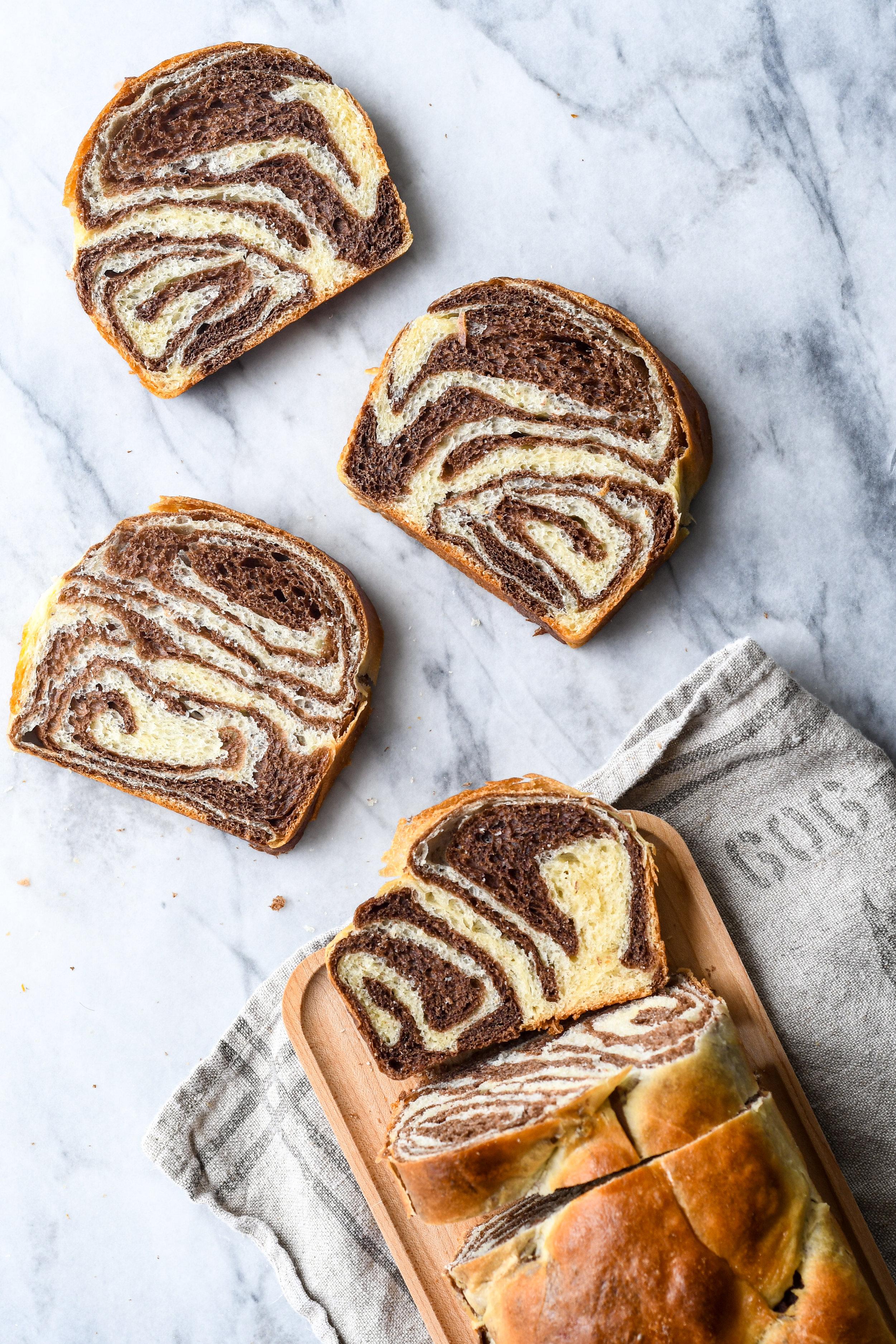 swirled chocolate challah