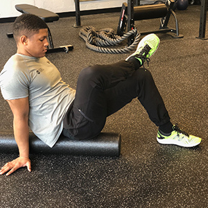 To increase pressure on the gluteals, place the ankle of the target side on the opposite knee.