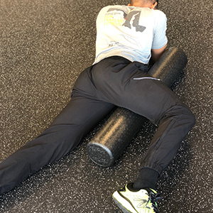 A great way to target the adductors (groin) is to place the roller under one hip while in a prone position.