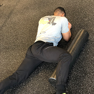 While applying downward pressure, slowly roll towards the knee to effectively target the adductors.