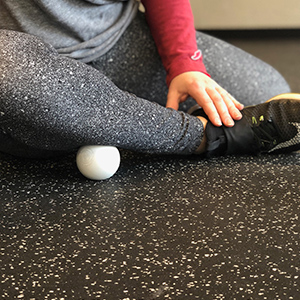 A great way to target the lateral areas of the calf muscle is to use the lacrosse ball along the anterior tibialis (shin area).