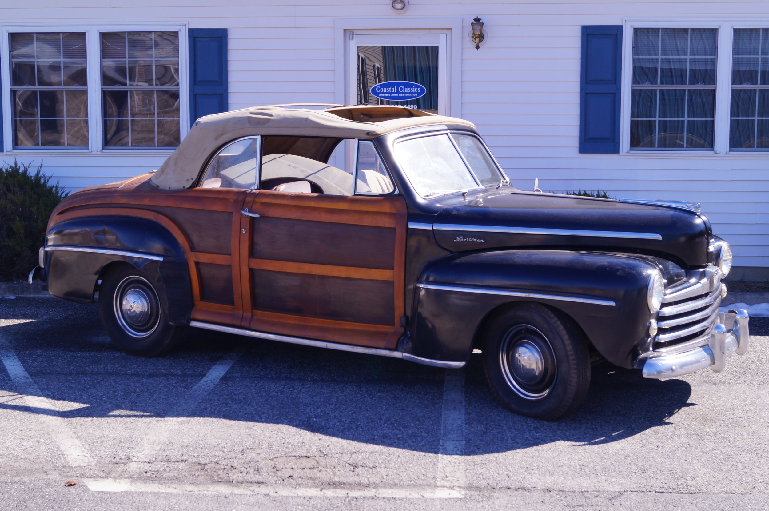 1947 Ford Sportsman - After nearly 60 years in storage, this wood-bodied convertible is currently undergoing a full, concours restoration by Coastal Classics. 2,250 Sportsmans were built in 1947, but not many survive today, making these cars quite rare and valuable. The wood used for these cars were a marine-grade mahogany plywood for the center section inserts, and either a maple or birch for the surrounding wood. In the case of this car, birch was the type of wood used. Please check back for completed pictures, or schedule a tour of our shop to see the restoration of this special automobile in person.