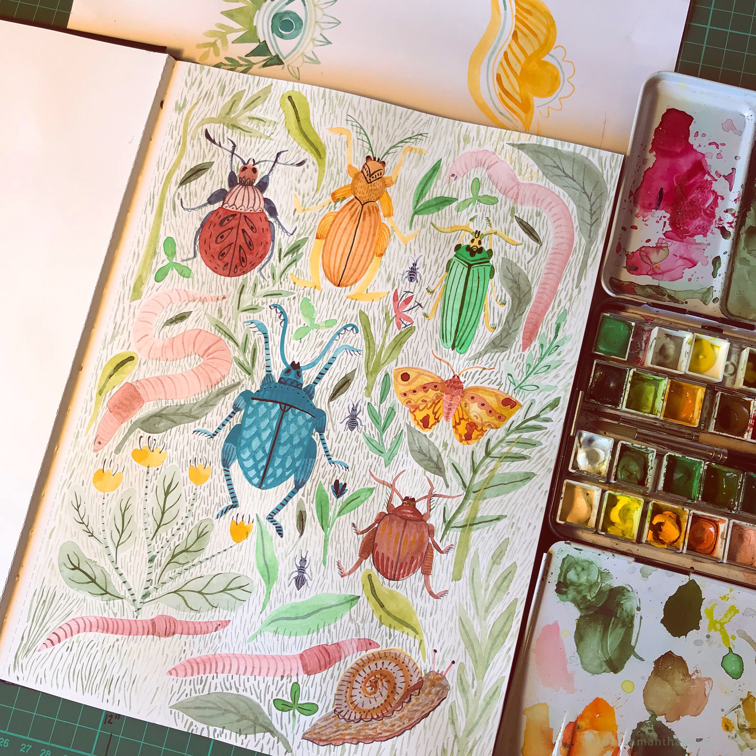 Mixing Gouache and watercolour, doodling bugs and worms, June 2018