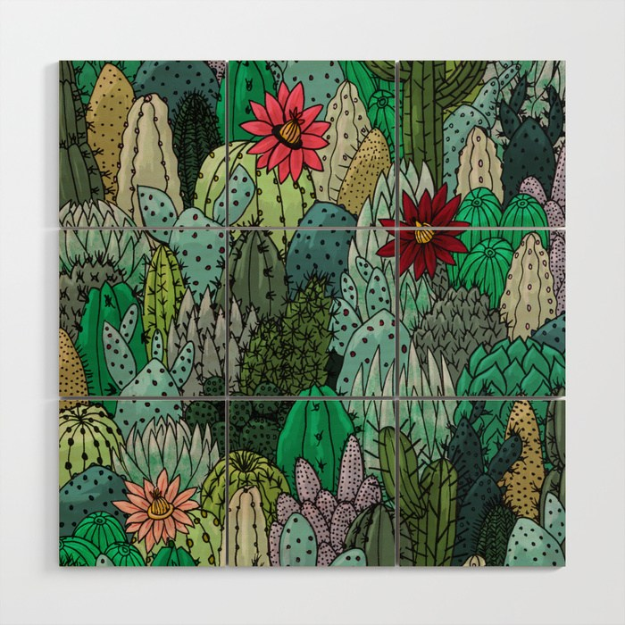 Cactus Collection Wood Wall Art, illustrated by Samantha Dolan, available on Society6