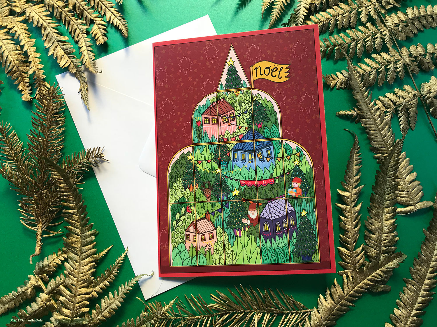 An a5 christmas card using ' Christmas time in the terrarium ' illustration. 2017