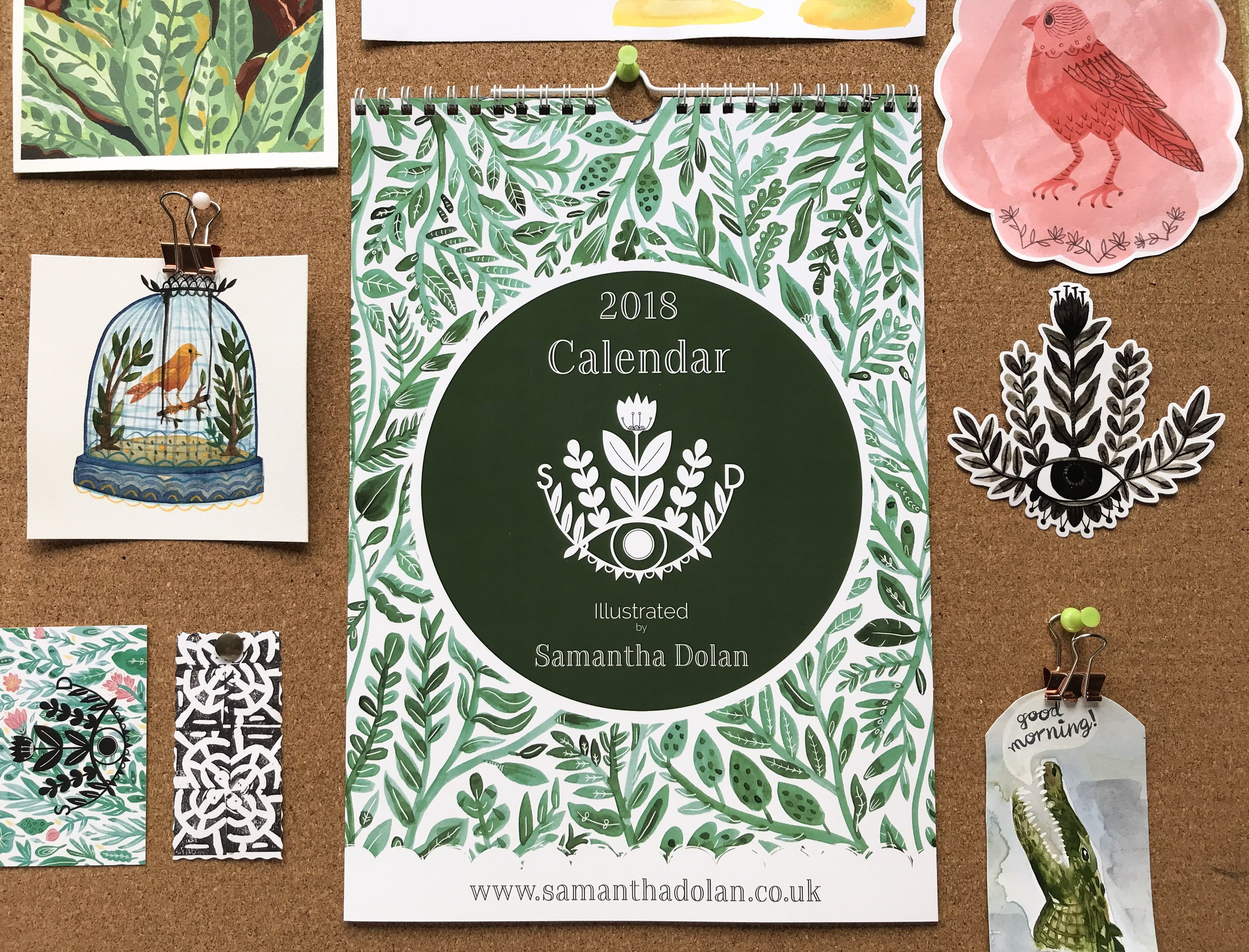 2018 a4 Calendar, created using a selection of different illustrations created in 2017.