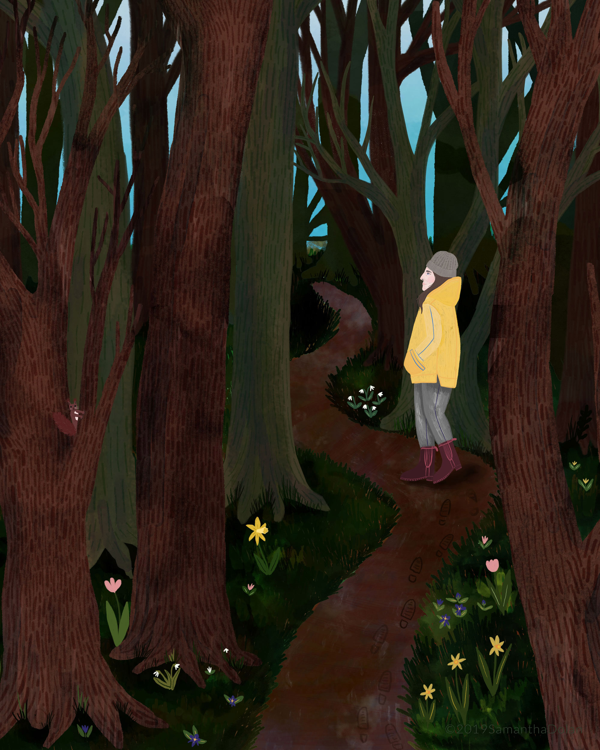 'A walk in the woods' Digital illustration, 2019.