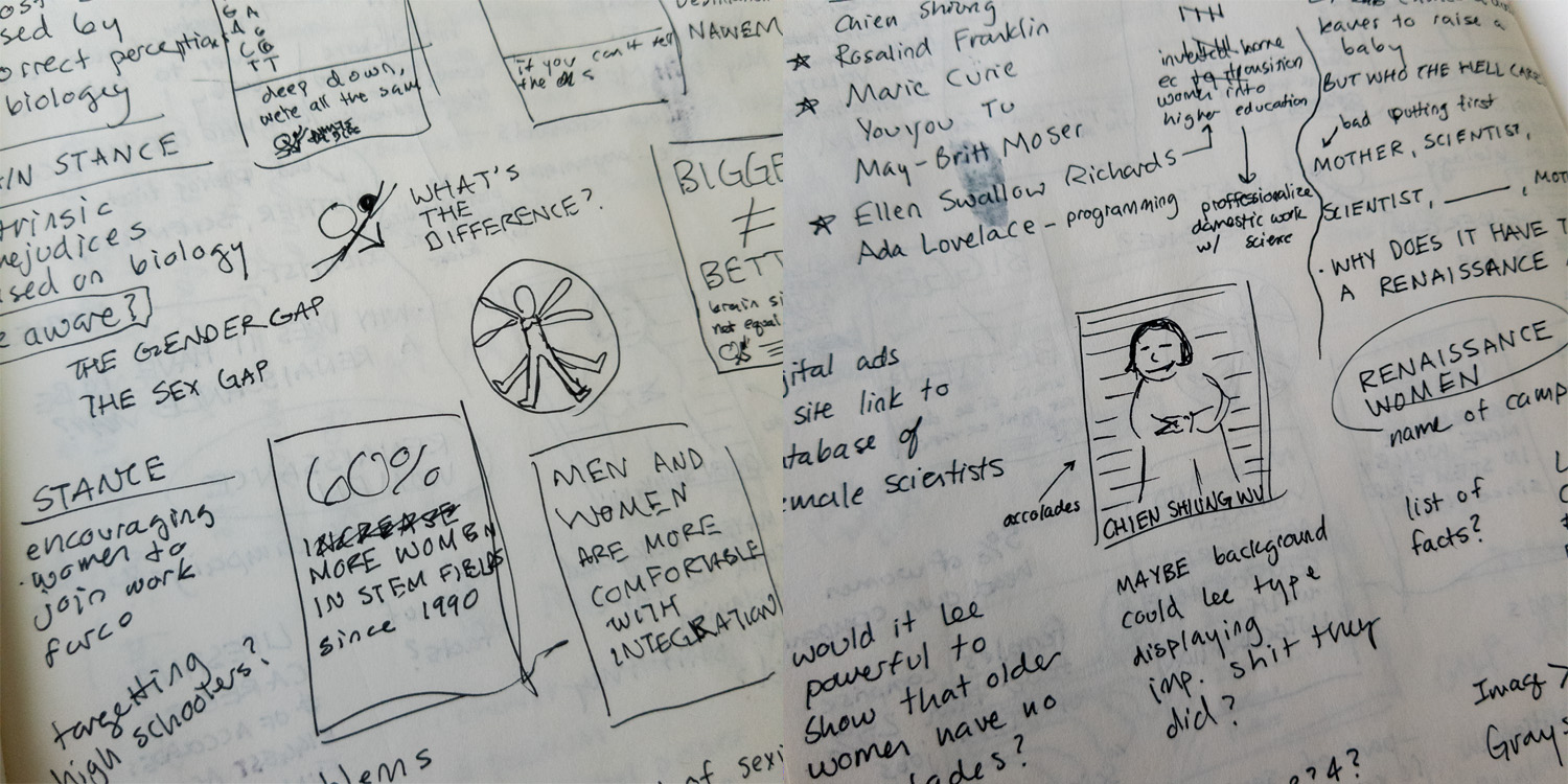 Process Work - These are images from the sketching process for the poster series. Displaying the several of the early poster iterations as well as suggestions for the project name and logo, these two shots of my sketchbook encapsulate the collection of thoughts I record during ideation.