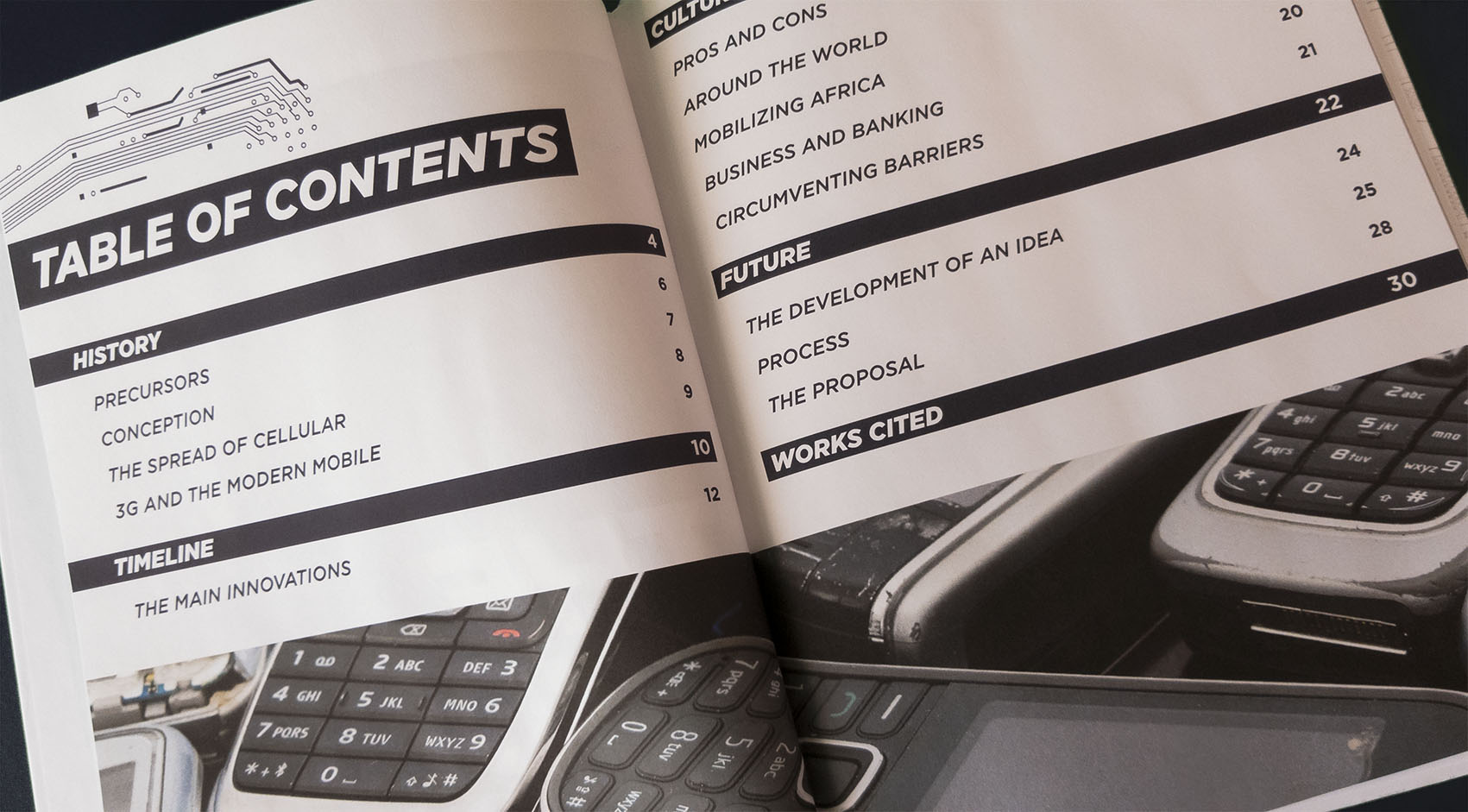 table of contents spread - Each section has subheadings in which to more accurately browse and each section is preceded by a full title spread.