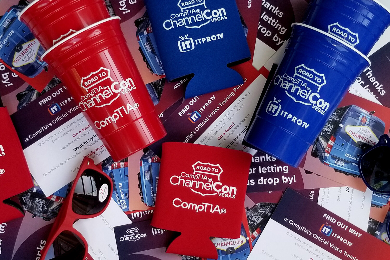 The swag - We ordered two versions of each swag piece — one blue and one red for ITProTV and CompTIA, respectively.