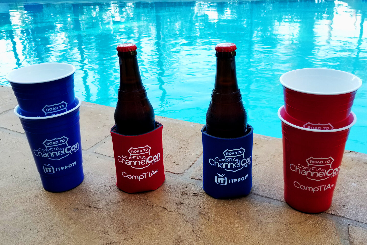 - Detail shot of the koozies and insulated cups.