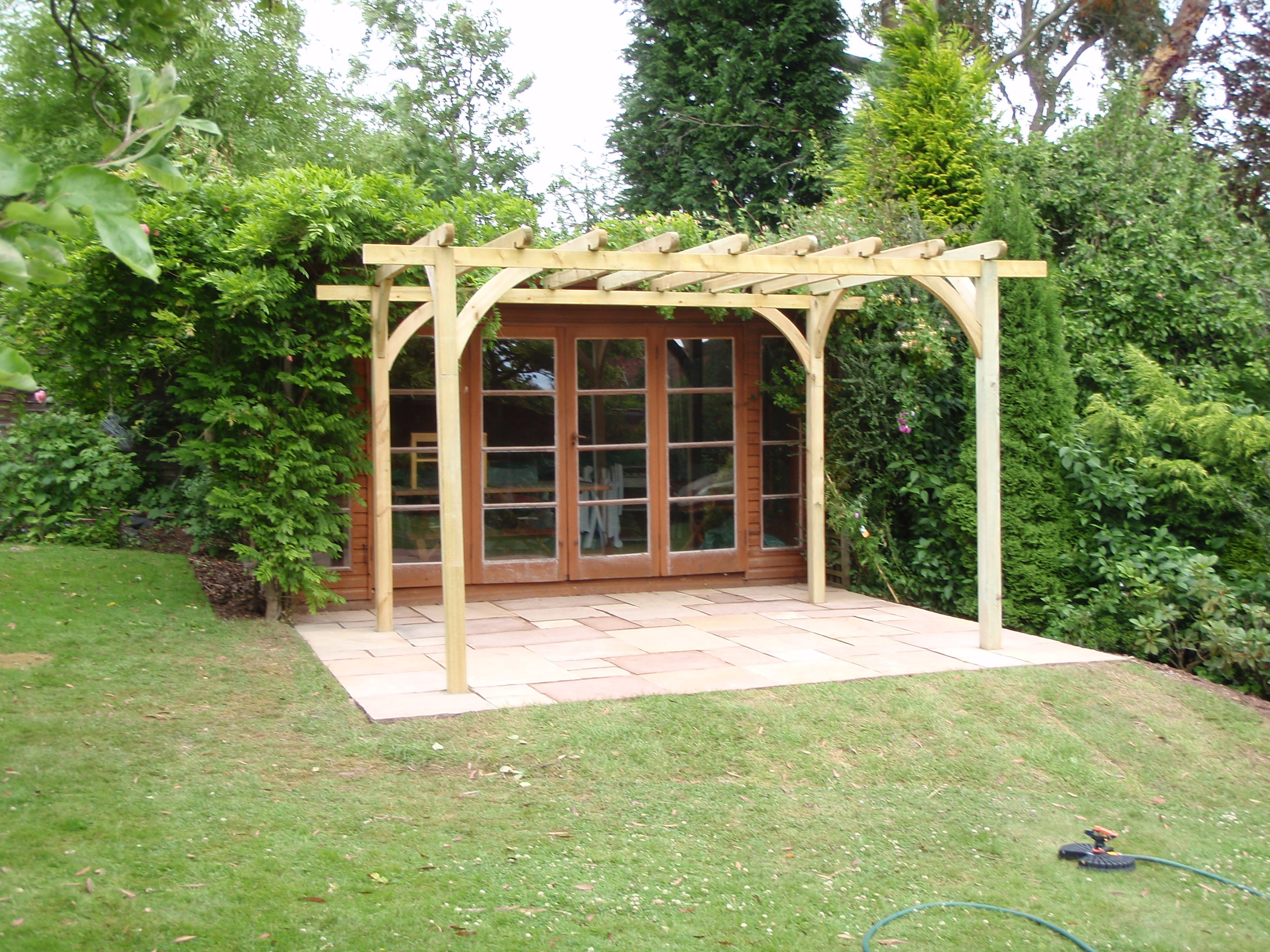 Natural stone paving with pergola - Hagley, Worcestershire