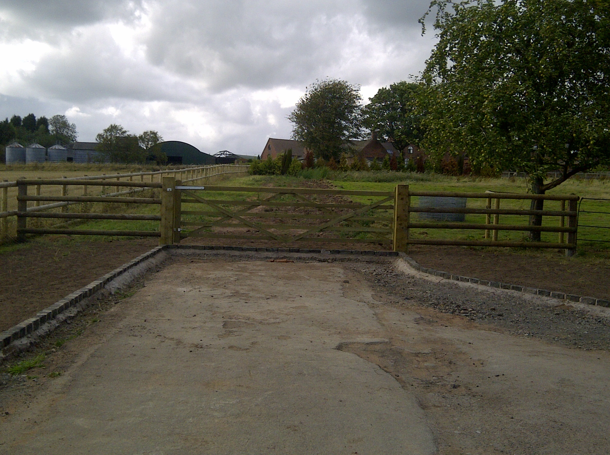 Field gate with post and rail - Hall House, Kinver