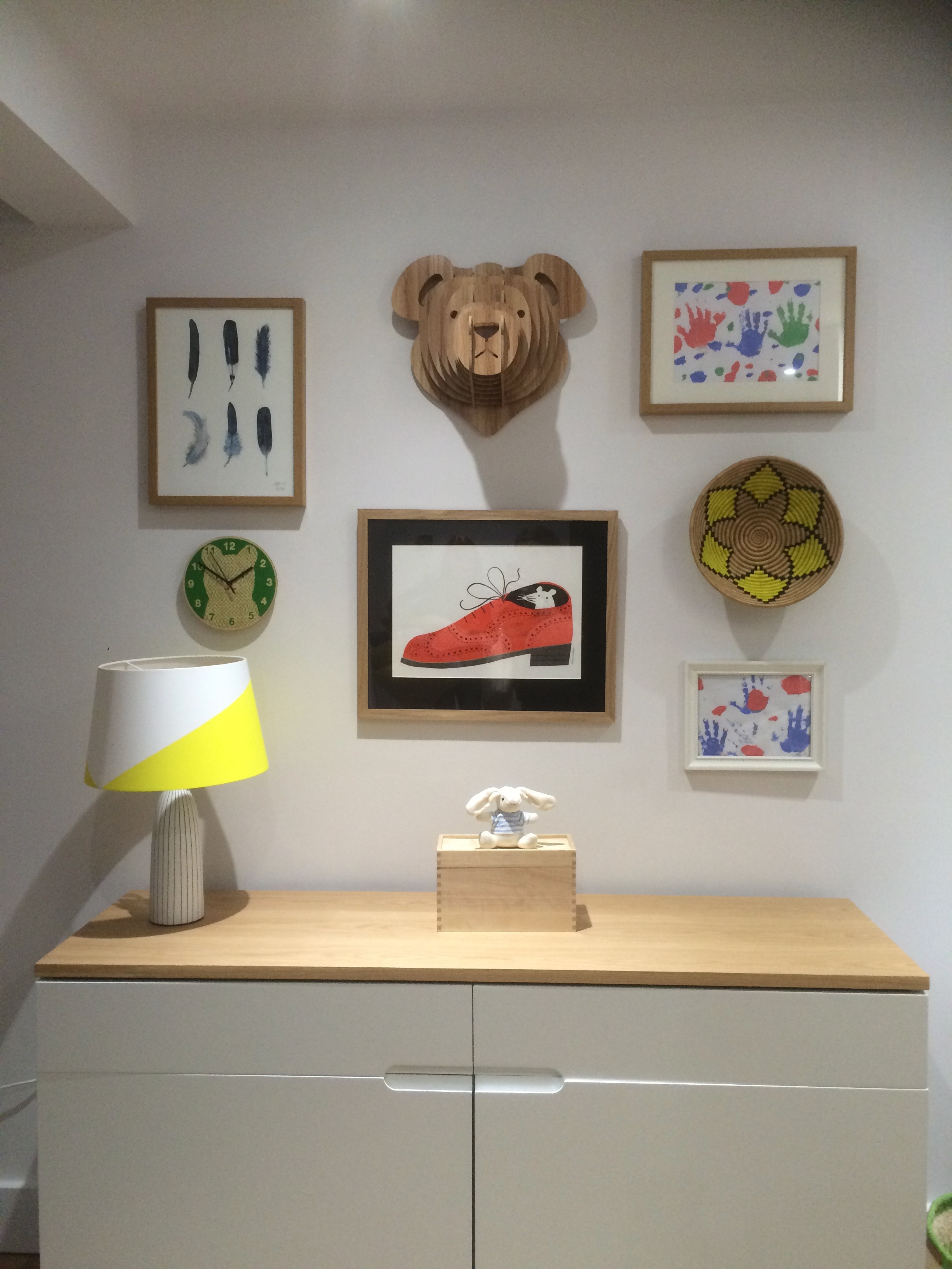 The finished playroom gallery wall