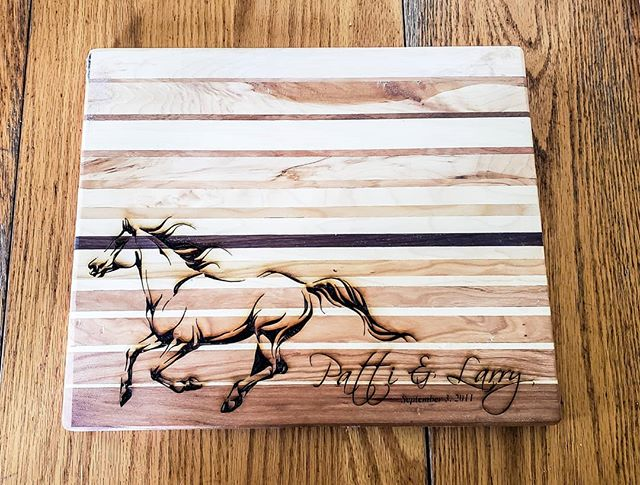 New cutting board design!  #woodworking #cnc #laserengraving #horse #giftideas #stratfordontario #stmarysontario