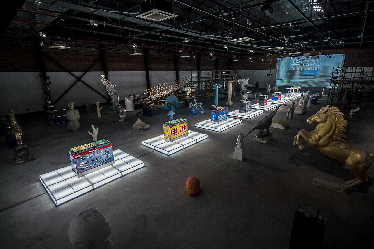 "Installation view of Simon Denny's ""Real Mass Entrepreneurship"" at OCAT Shenzhen, 2017. Courtesy the artist and OCAT Shenzhen."