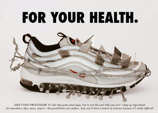 "Photo: ""Nike Food Processair"" by artist Ava Nirui; ""Mock advertisements designed as odes to classic Air Max ads - with punchy verbiage to match"""