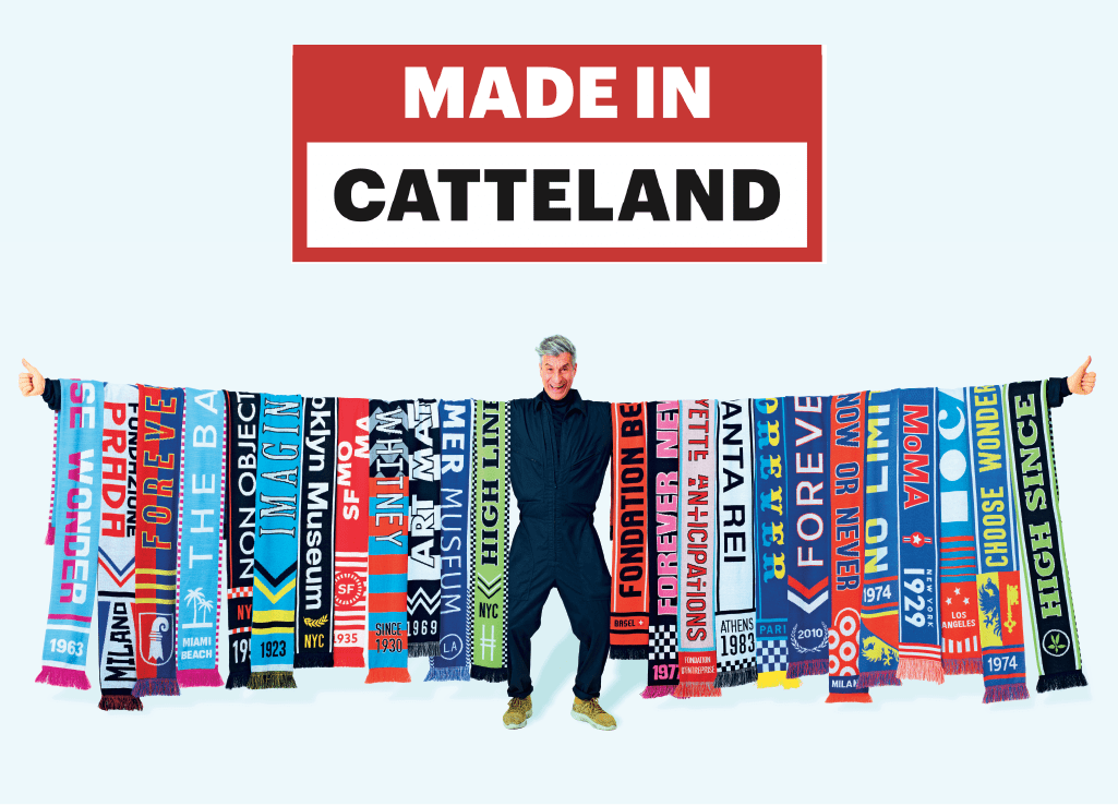 """Maurizio  Catteland with his """"Museum League"""" collection"""