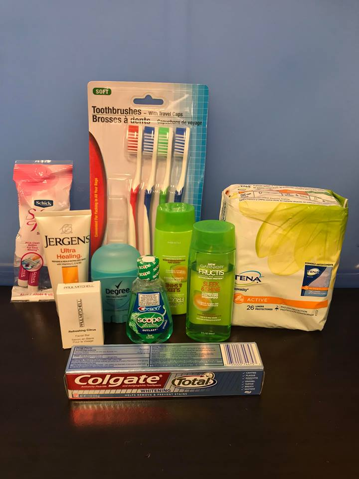 Hygienic Products - Shampoo, conditioner, soap, moisturizer, razors, toothbrushes, toothpaste, deodorant, shaving cream, pads and tampons, combs, brushes, floss or mouthwash, nail clippers, and other grooming products. Travel-sized is preferred for easy distribution, but we will gladly welcome products of all sizes.