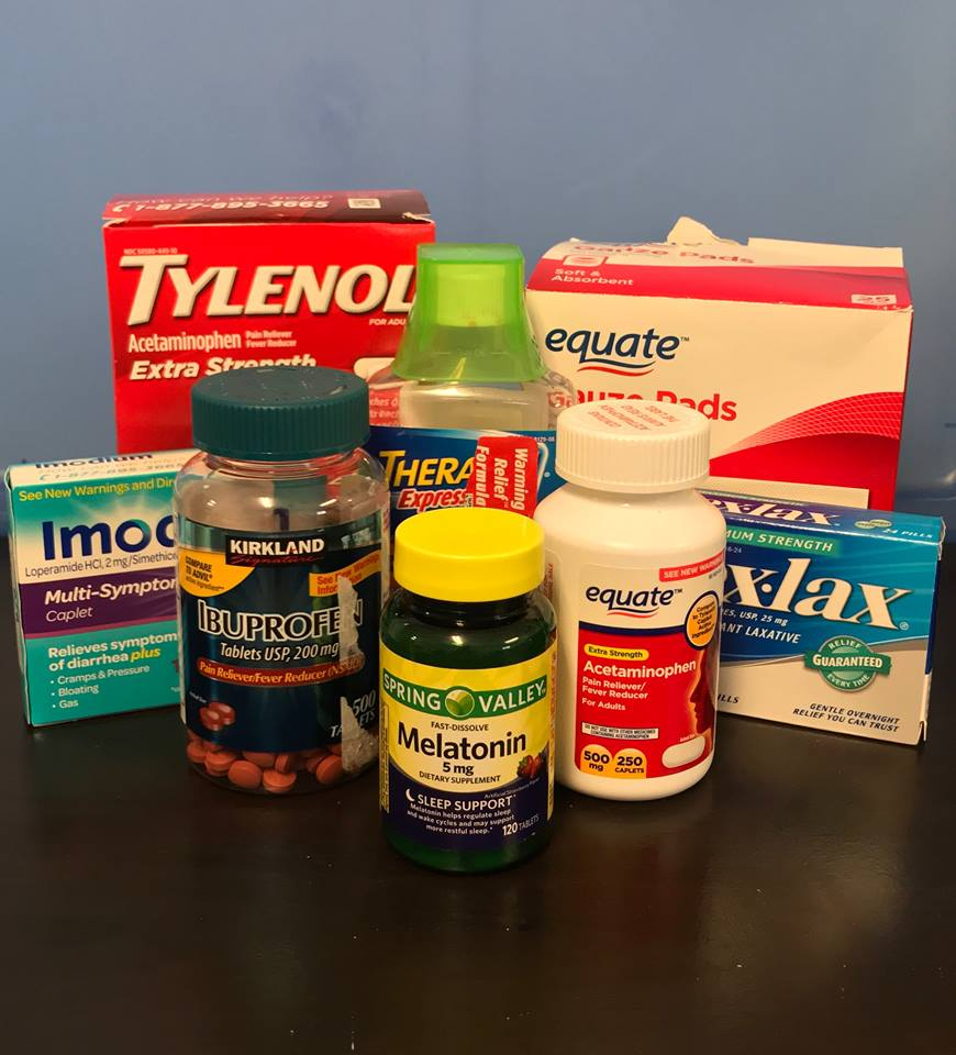 Medical Supplies - Band-aids, gauze, disinfectant, pain relievers (Advil, Ibuprofen, etc.), Tums, melatonin, cough medicine, cough drops, decongestant, rubbing alcohol or alcohol wipes, Q-tips, Ace bandages, and other first aid products.