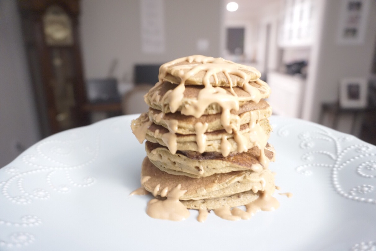 Paleo plantain pancakes drizzled with almond butter