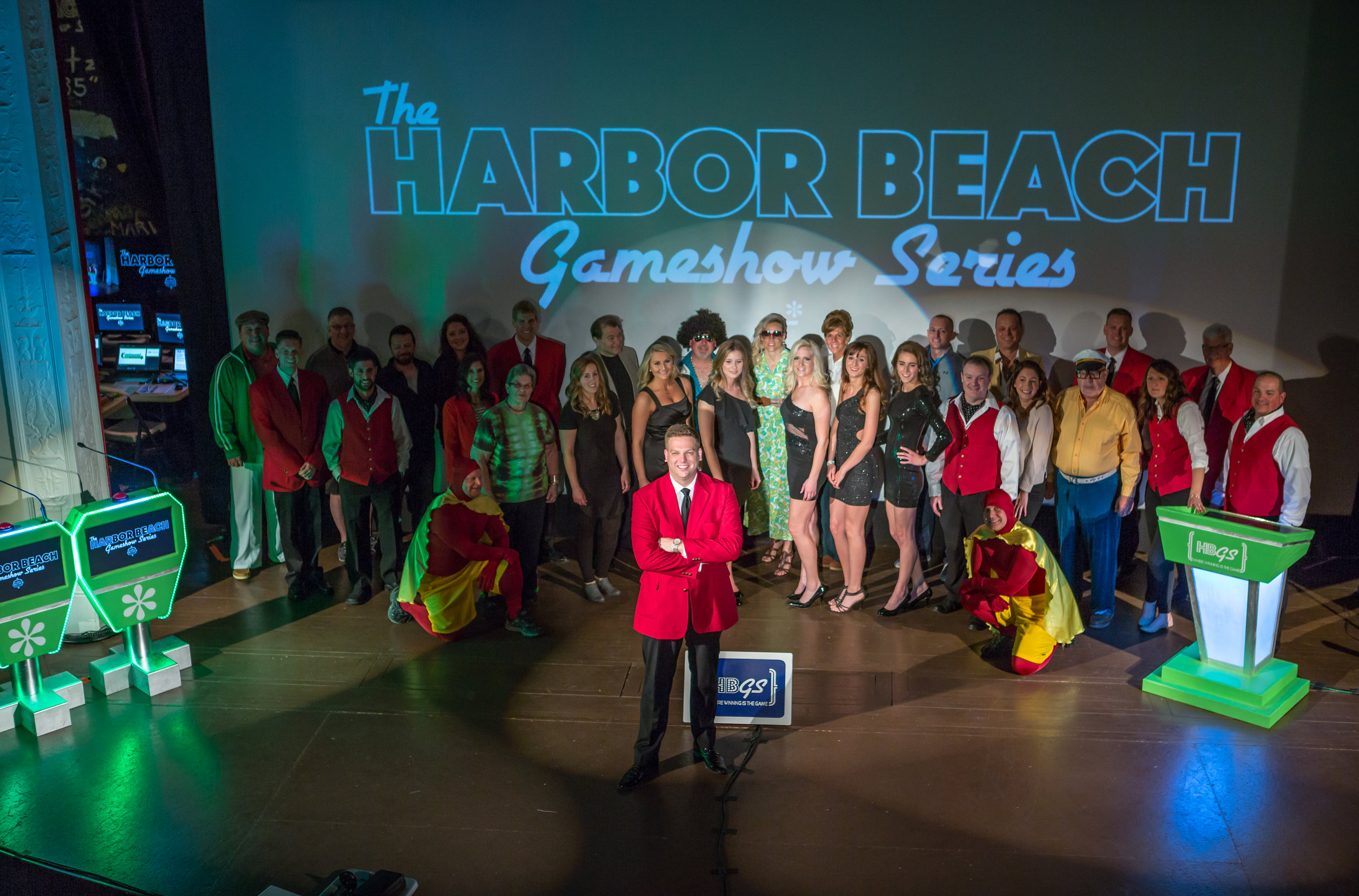 A majority of the staff of The Harbor Beach Gameshow Series, May 13, 2017 -- not pictured are box office, engineering and usher staff. Photo courtesy of: jenniferGRACE PHOTOGRAPHY