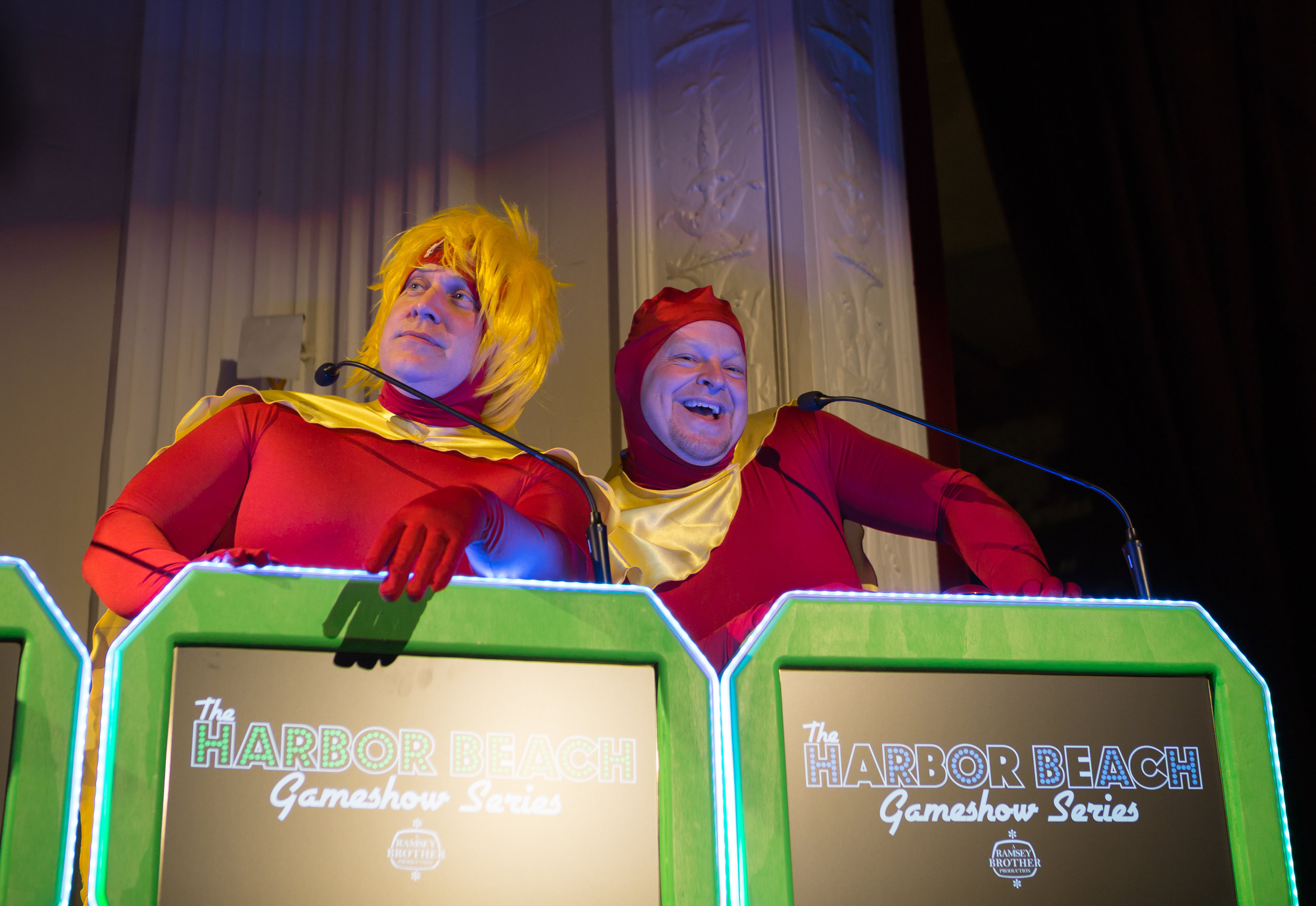 The world-famous Whammys made their debut at the 2017 Harbor Beach Gameshow Series. Ed Klump and Rob Little entertain the crowd in any wacky way possible.