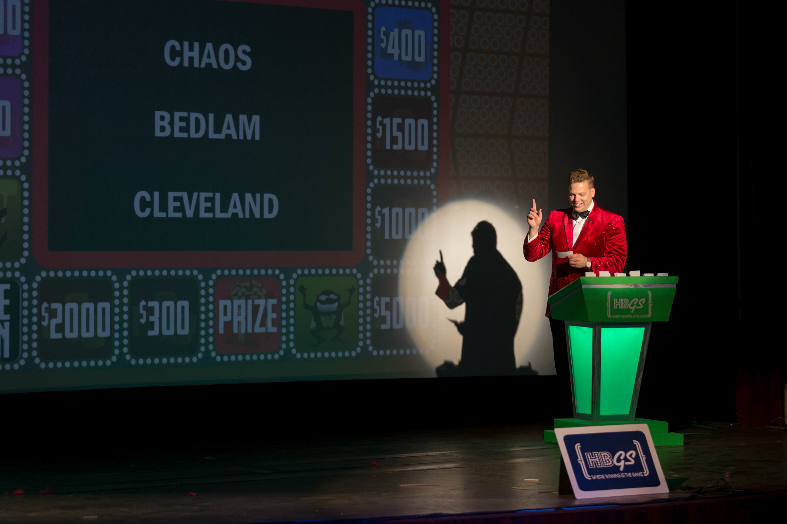 Host, Clark Ramsey delivers a punchline at the expense of Cleveland.