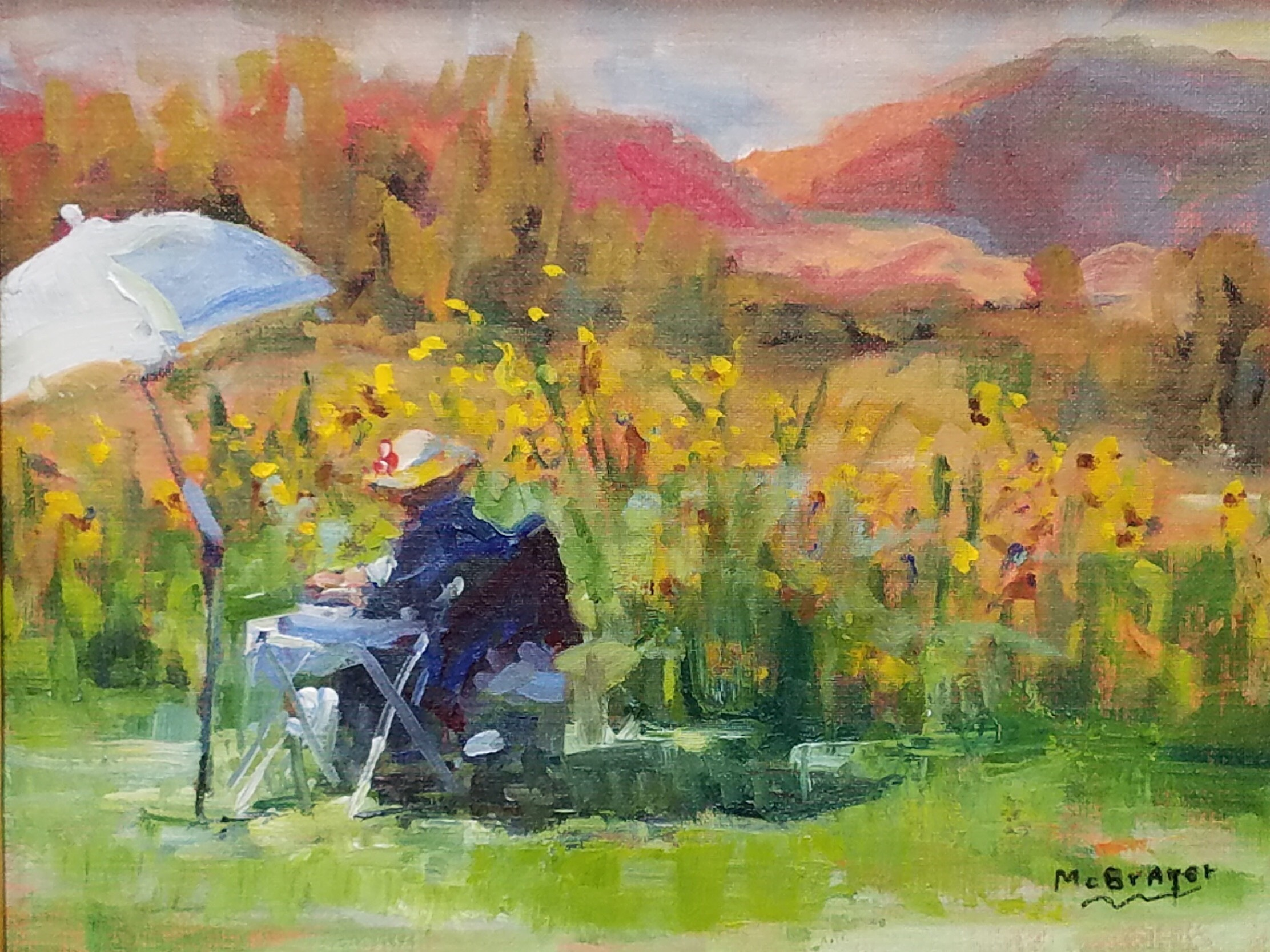"Painting of Linda Rauch by Jim McBrayer (JimMcBrayer.com)        ""Rinconada Meadow"""