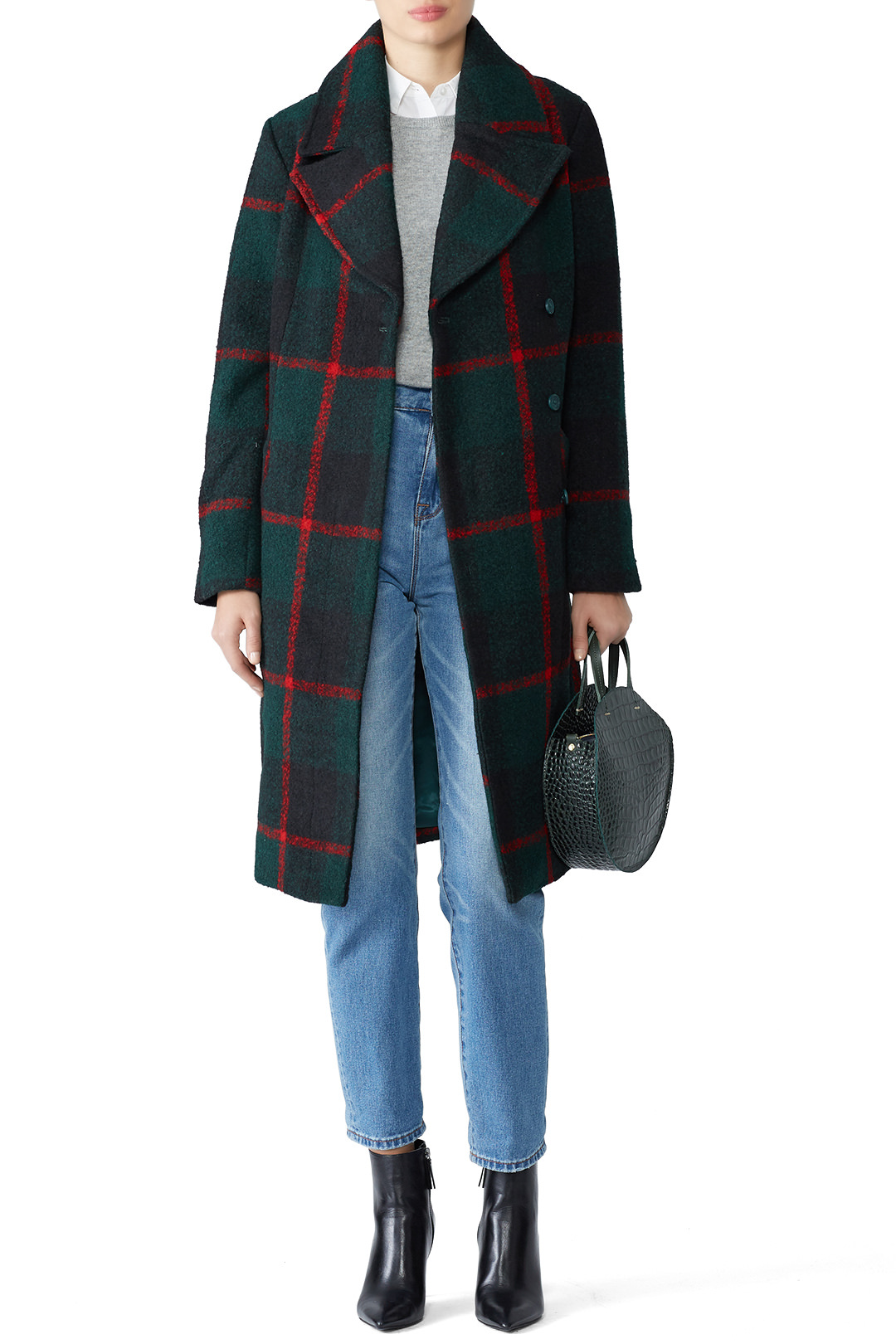 Just Female Green Check Emeline Coat - Going to Ireland? Wear this.