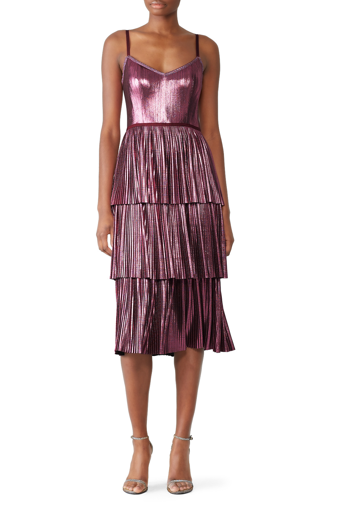 Marchesa Notte Lilac Pleated Lame Dress - This is a newly added style and I'm super into it!
