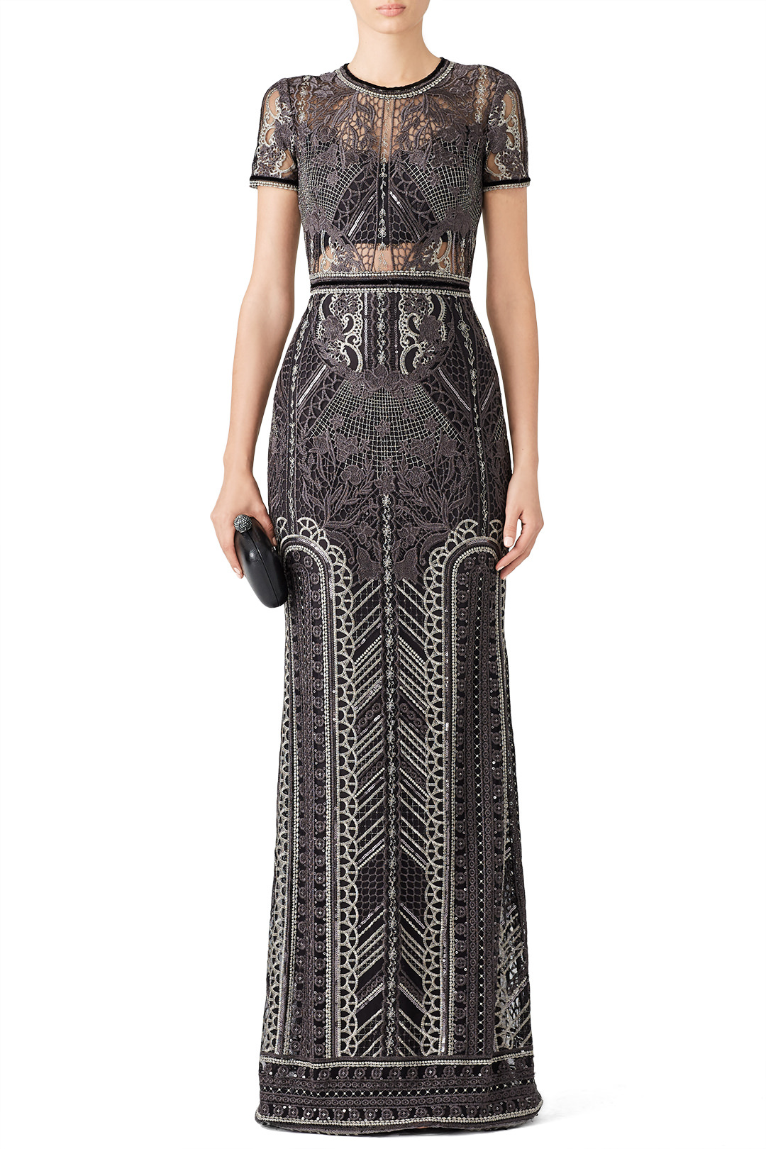 Marchesa Notte Silver Embroidered Gown - I've had my eyes on this gown for a while…but again…no occasion. SOMEONE INVITE ME SOMEWHERE FANCY!!!!!!!