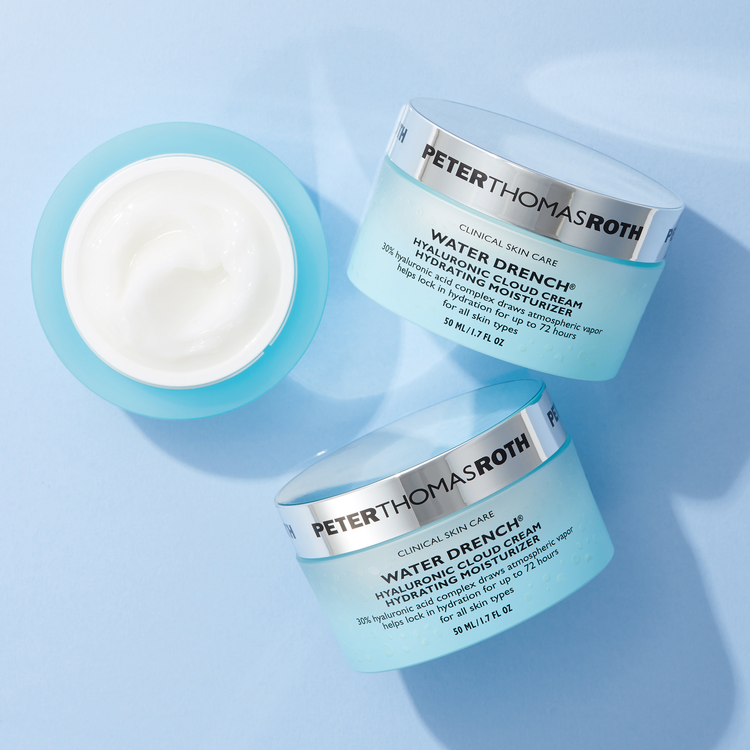 Peter Thomas Roth Water Drench Hyaluronic Cloud Cream - This is the holy grail of moisturizers. It's a concentrated 30 percent hyaluronic acid cream that transforms atmospheric vapor into fresh, pure water, WOW SCIENCE. And it feels super light and goes perfectly under makeup. I slather this stuff all over my face on long haul flights.TRAVEL SIZE: $22REG SIZE: $52