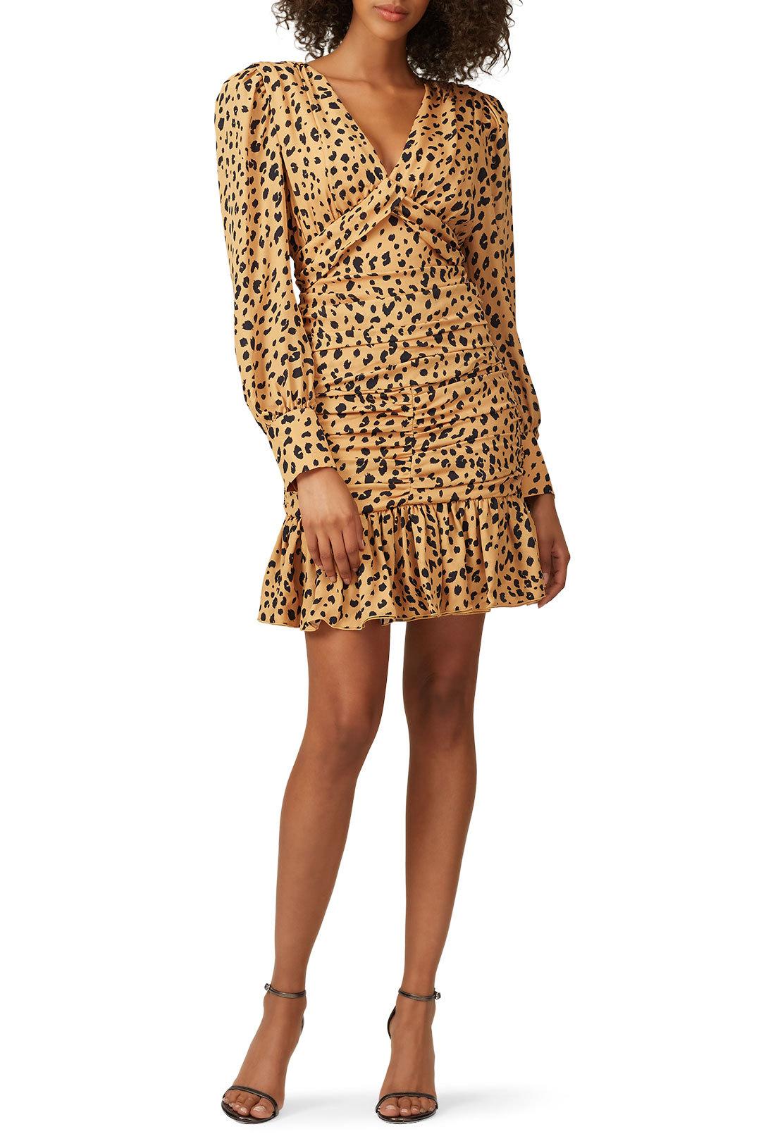 Nicholas - Leopard Gathered Frill Dress