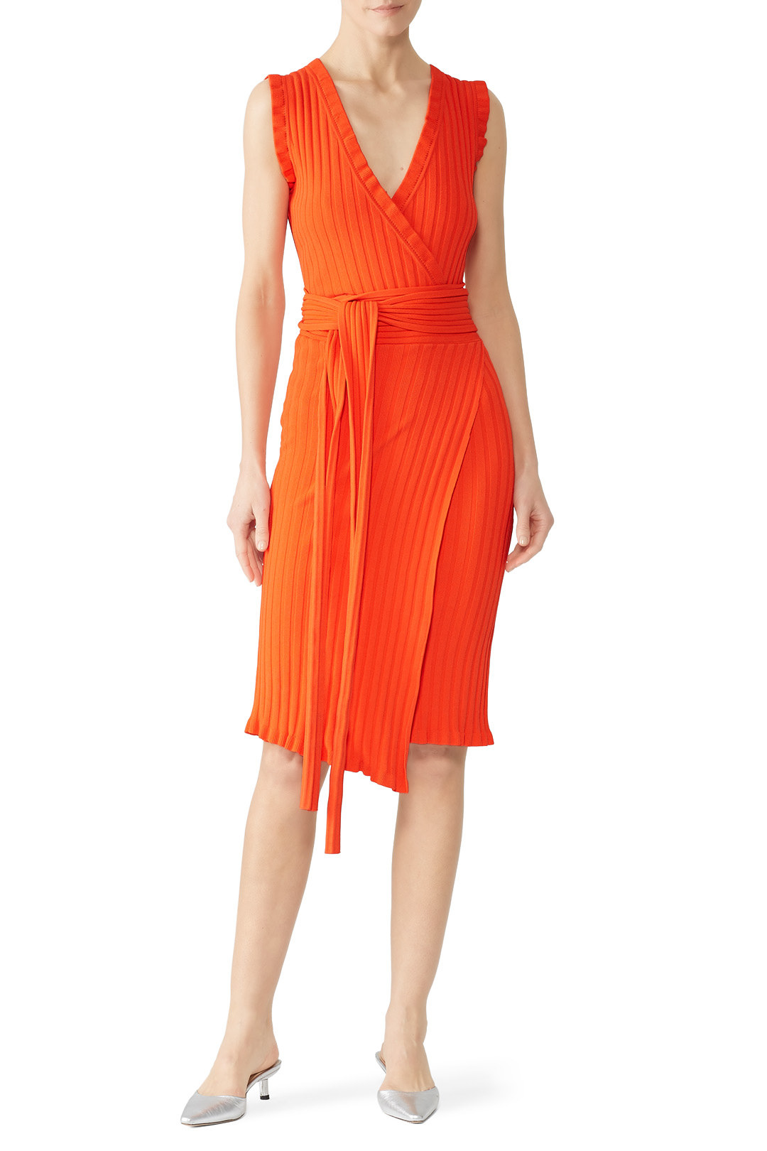 Milly - Persimmon V-Neck Wrap Dress