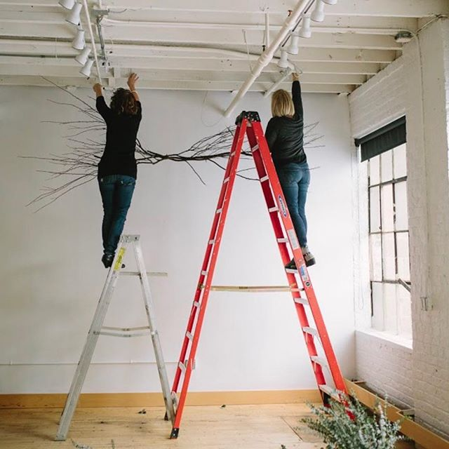 Installations are always fun! You quickly  learn to overcome the fear of heights when it comes to large floral installations. Floral design is not for the faint of heart, ask any florist you know. We're adding to the list of workshops and considering large scale floral installations as one of them. There will be floral classes and 1:1-1:2 sessions for design classes to include: bouquets, centerpieces, bouts, floral crowns and we're considering installs. . . . . . . @eclecticeleganceflorals . . . . . @jessicaholleque . . . #collaboration #collaborativeworkspace #smallbusiness #entrepreneur #carryingonthelegacy #howwegothere #thenamehasastory #fixerupper #carvermn #historicalarchitecture #historichomes #historicbuilding #renovationproject #studio #smalleventspace #workshops  #mnworkshop #creativeclass #hobbyist #cccolabworkshops #flowerworkshop #cccolabfloralworkshop #eefloralteaches